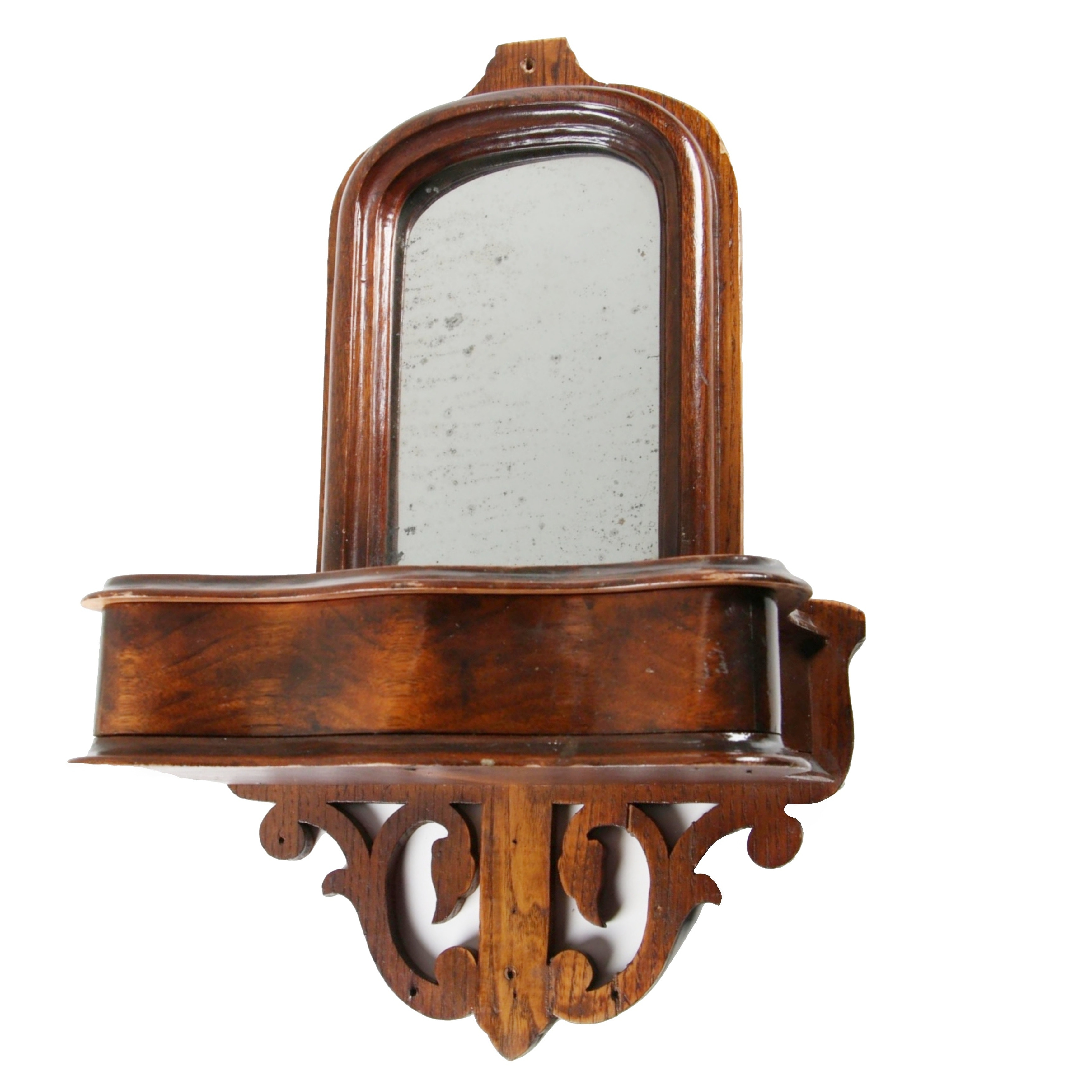 Victorian Oak Framed Hall Mirror with Storage Shelf, 19th Century