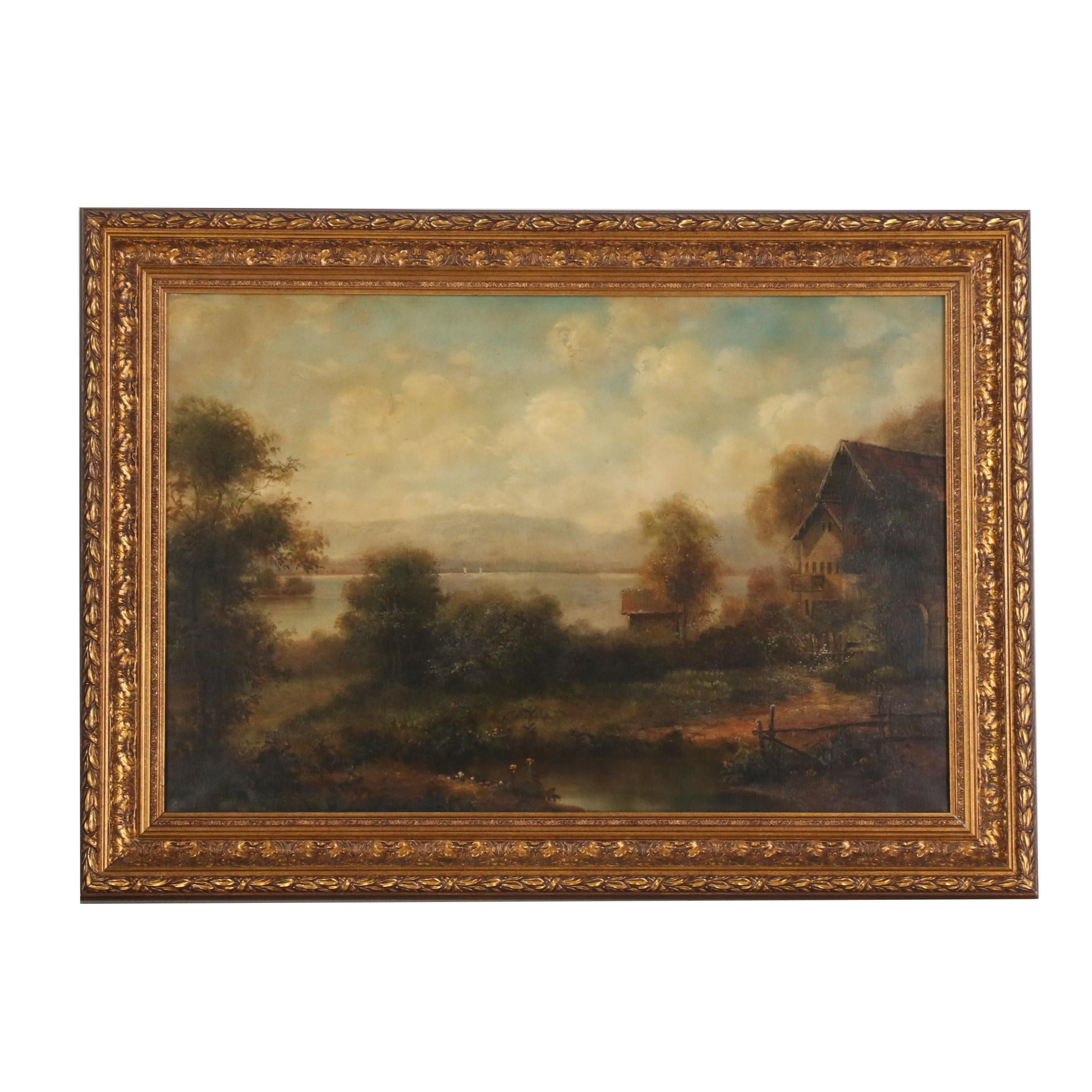 Late 20th Century Oil Painting of Rural Landscape