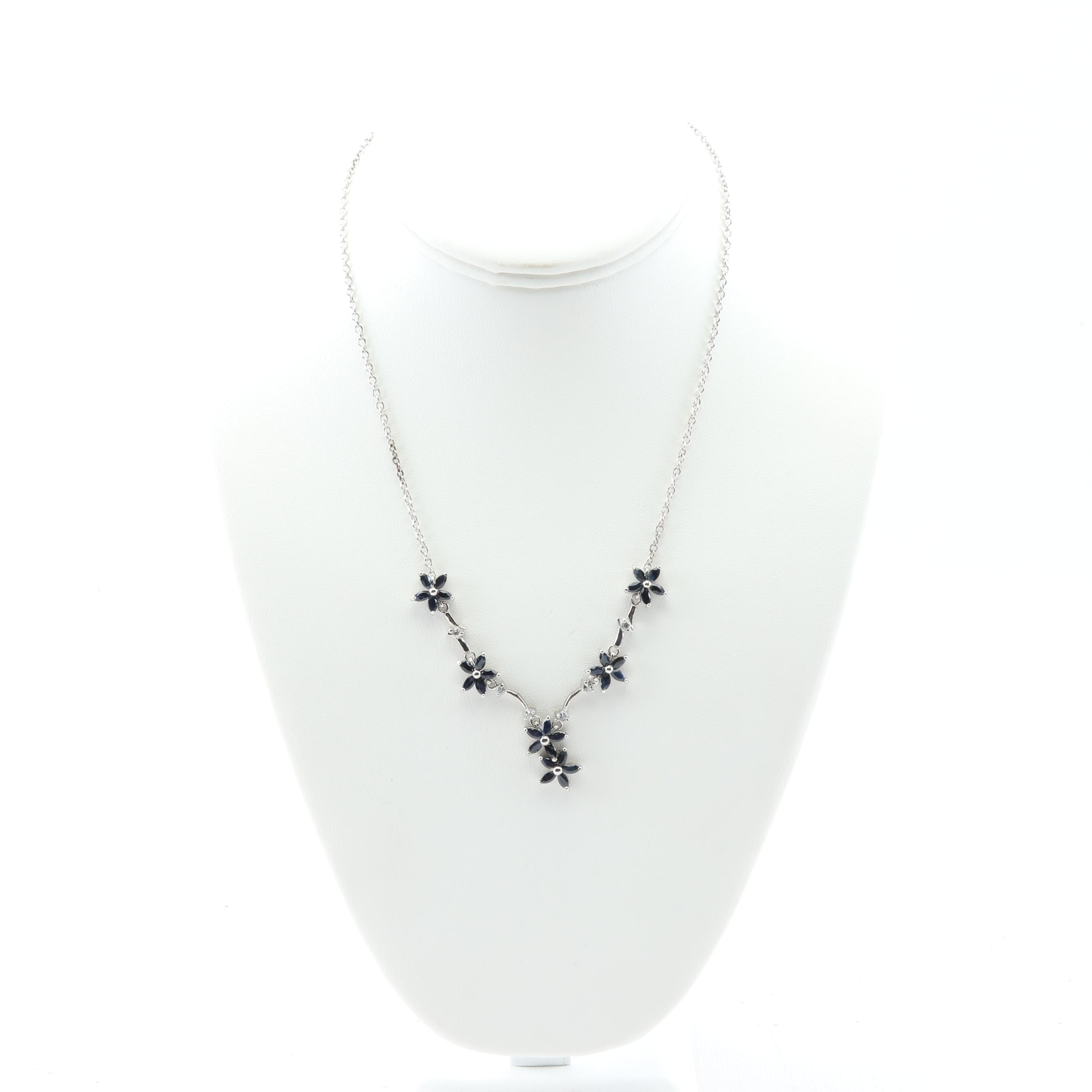Sterling Silver Six-Station Sapphire Flower Necklace with Cubic Zirconia Accents