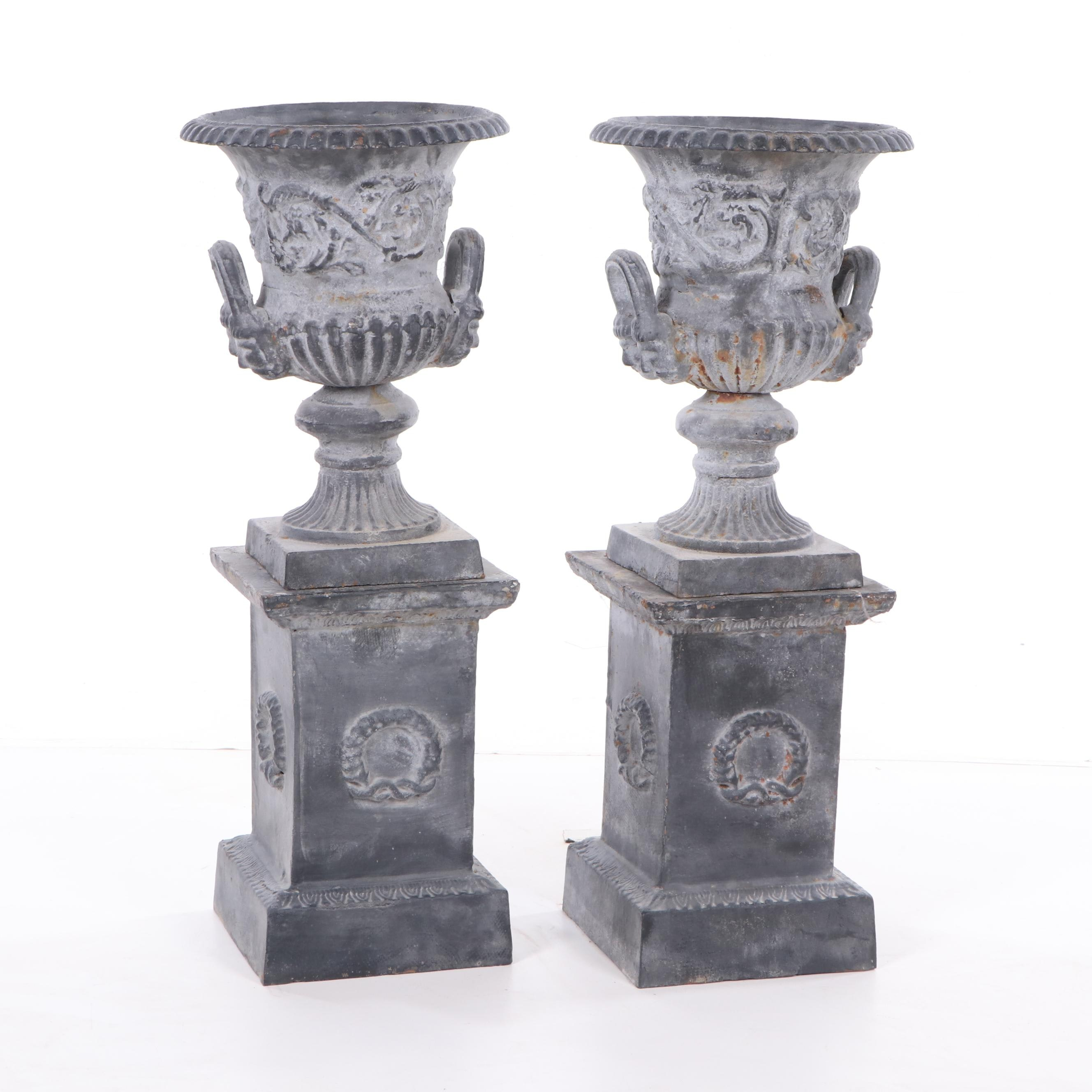 Neoclassical Style Cast Iron Planters on Bases