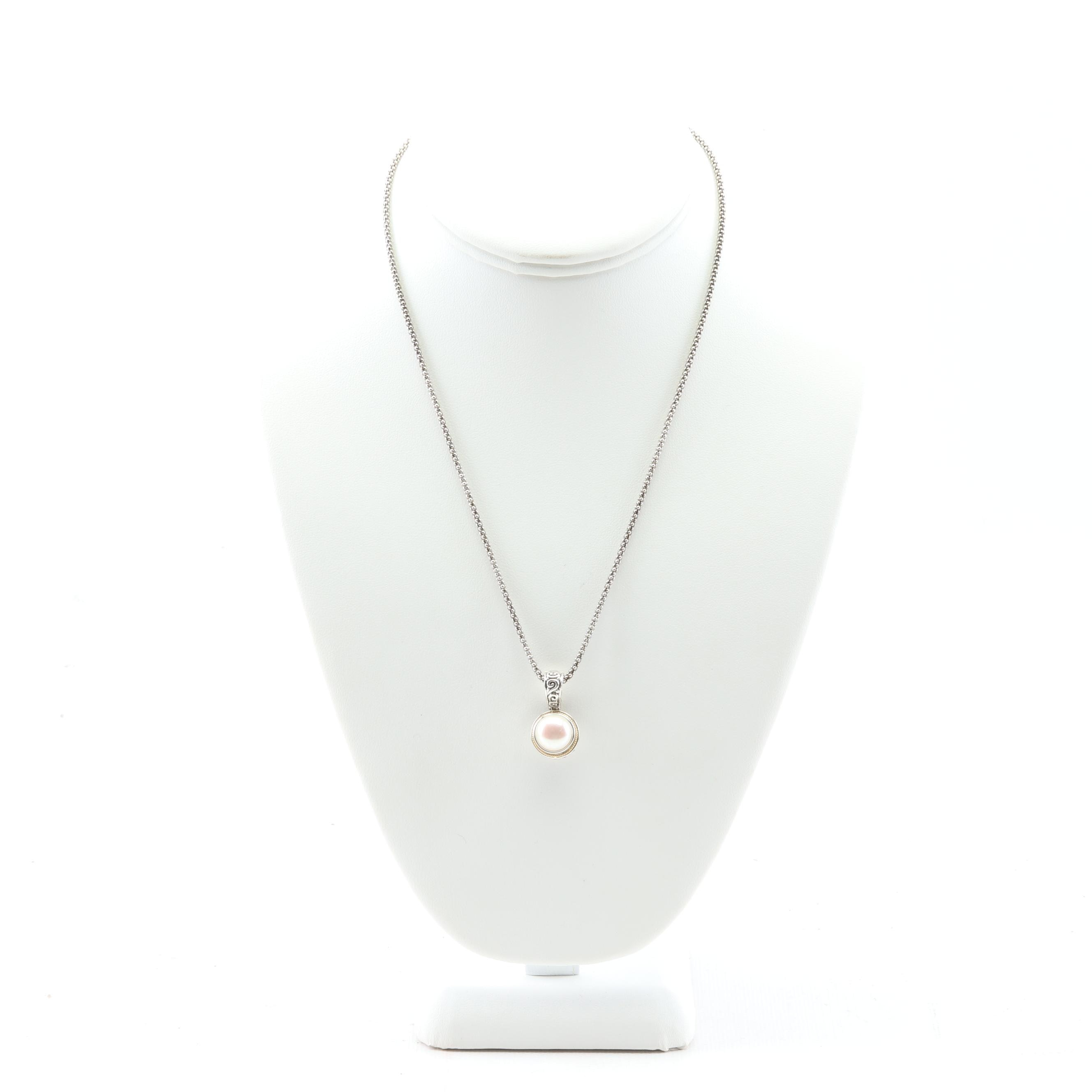 Eleganza 18K Yellow Gold and Sterling Silver Freshwater Pearl Enhancer