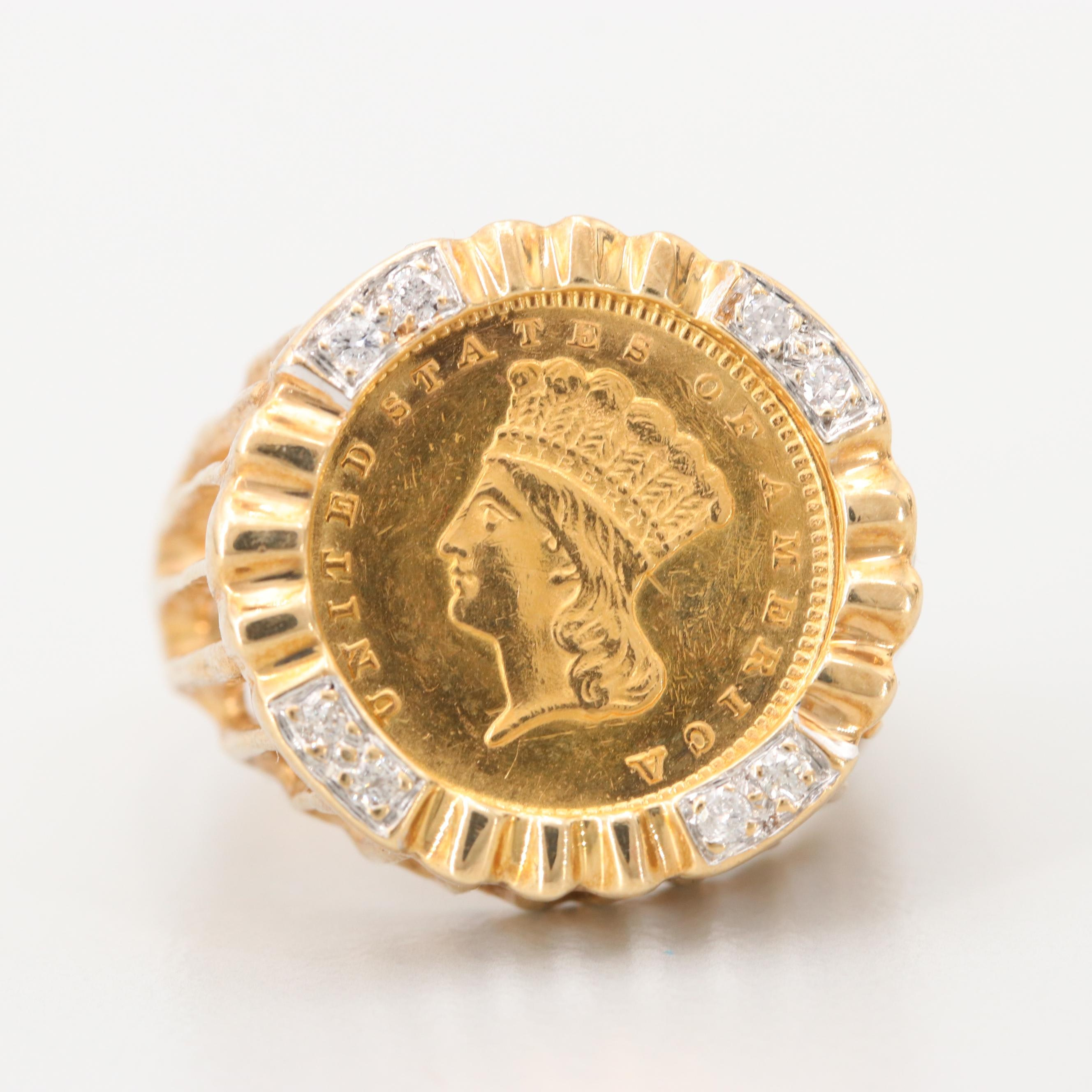 14K Yellow Gold Diamond Ring with an 1873 Indian Head Princess Gold Dollar Coin