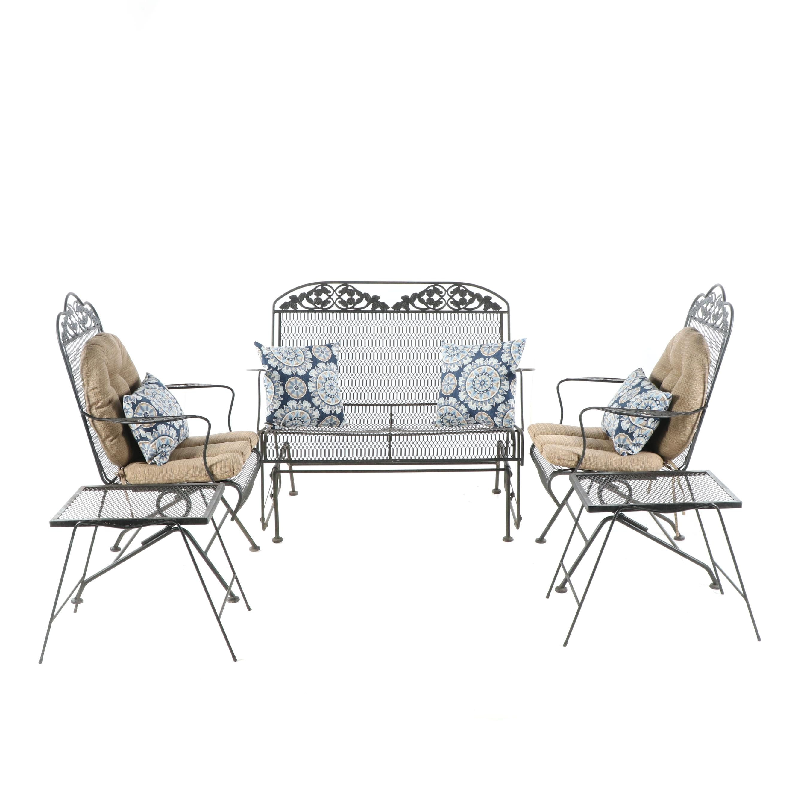 Rose Motif Metal Patio Loveseat, Rocking Armchairs, and Side Tables Set, 21st C.