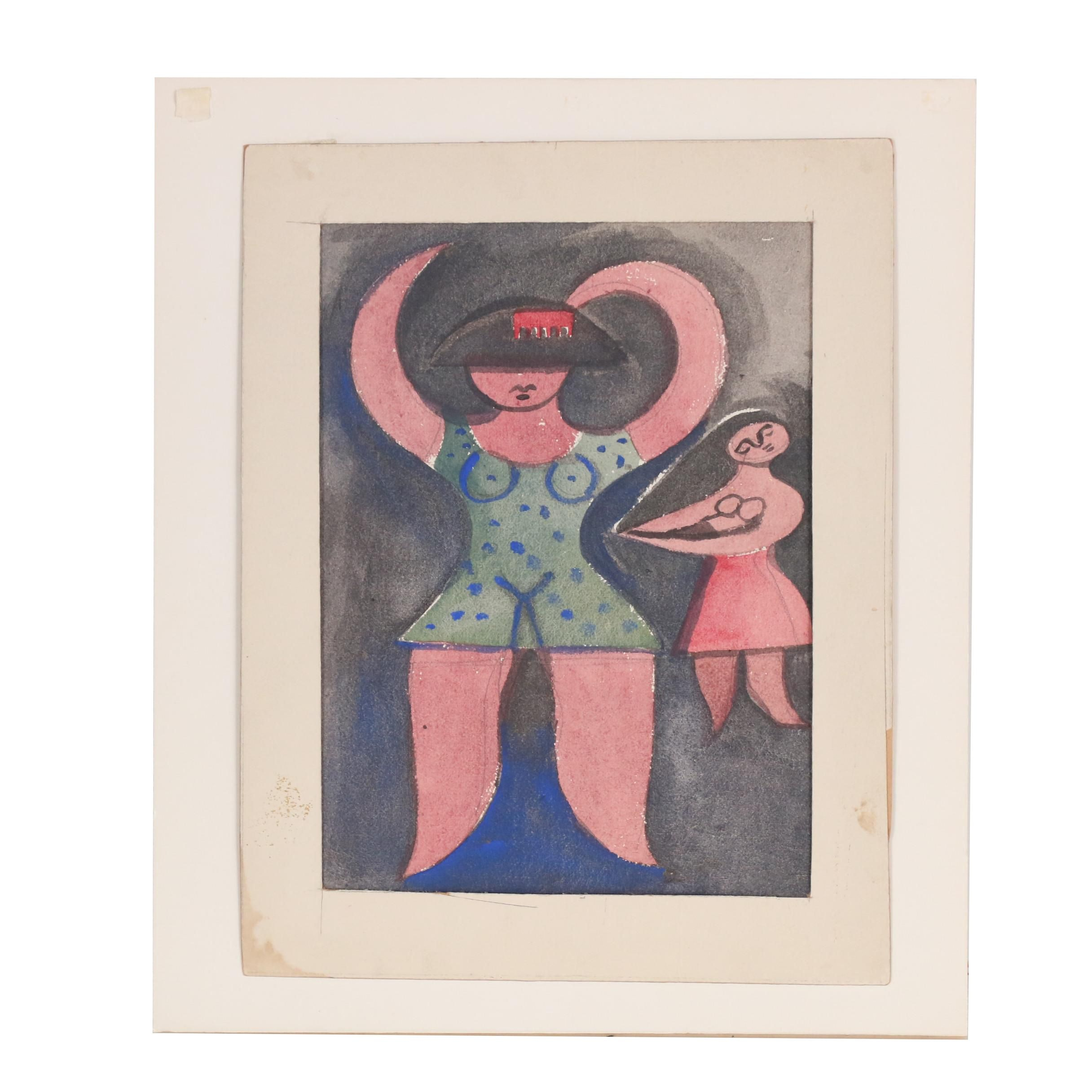 Esther Phillips 1951 Figural Watercolor Painting