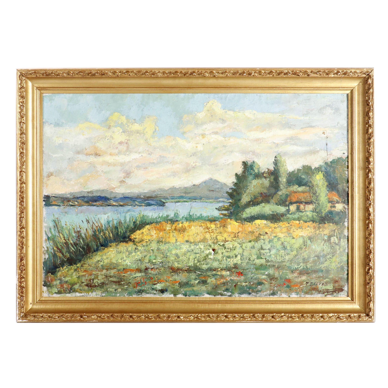P. Belva Impressionist Style Landscape Oil Painting