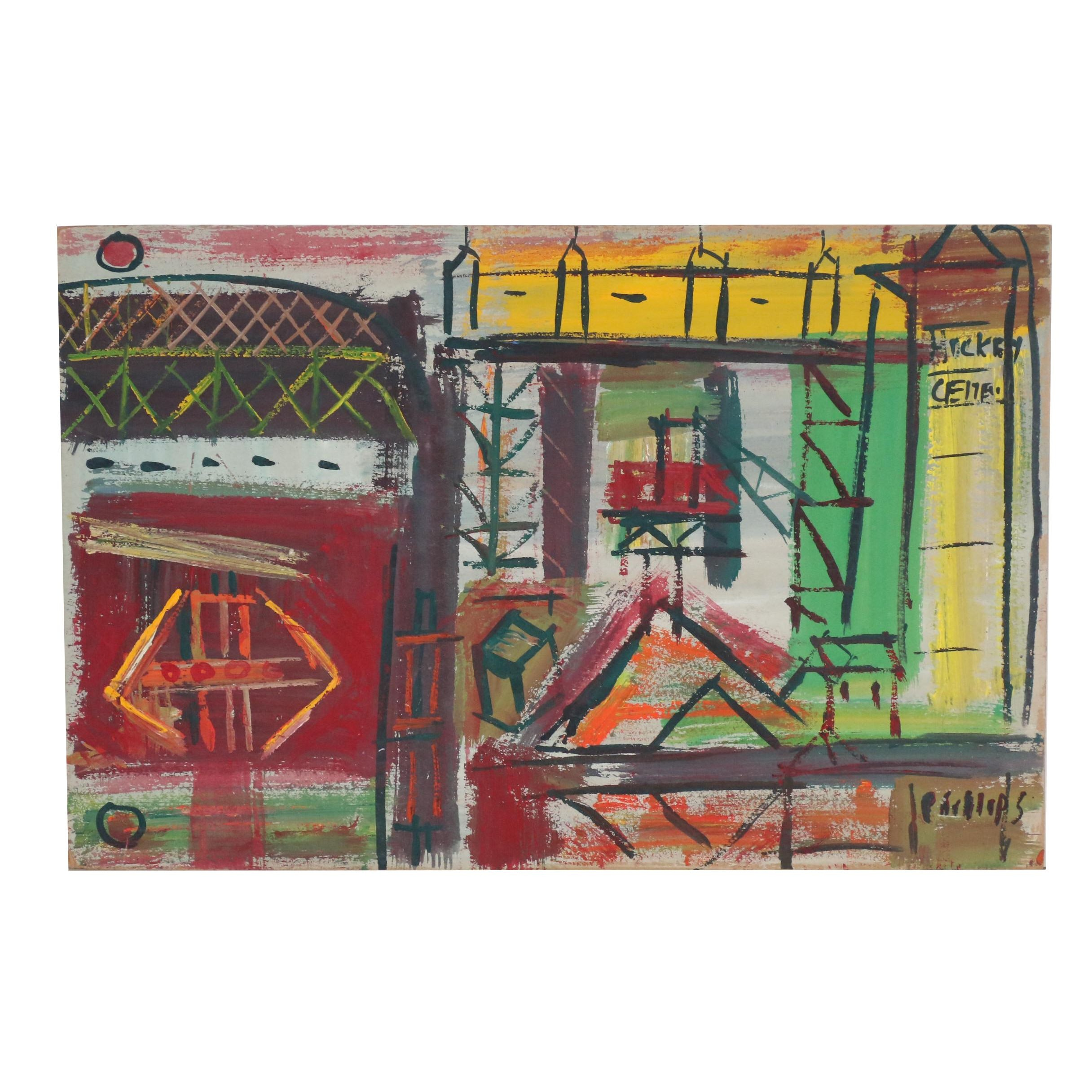 "Esther Phillips 1958 Gouache and Acrylic Painting ""Gowanus Sand Barges"""