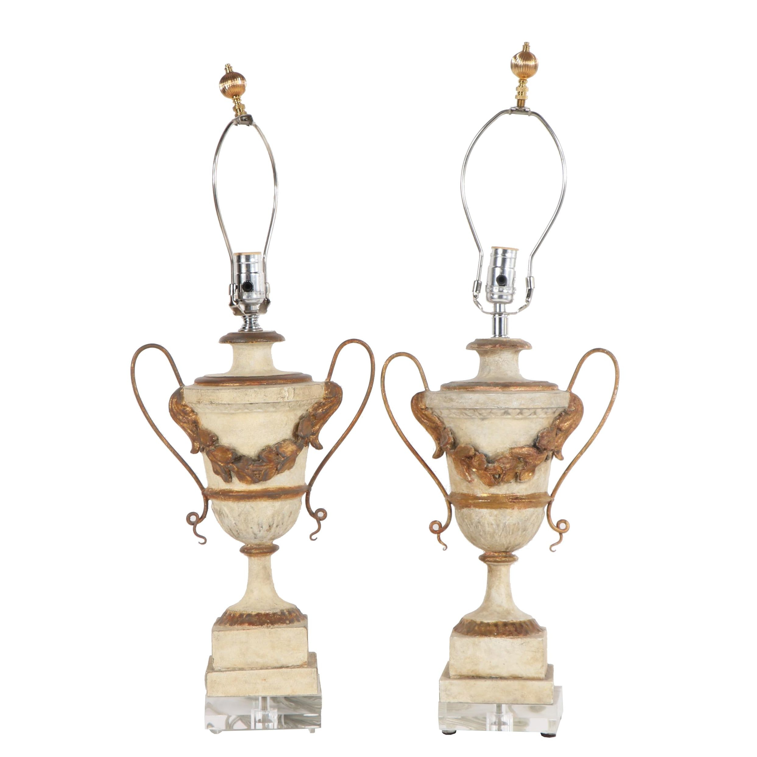 Neoclassical Style Urn Shaped Lamps with Acrylic Bases