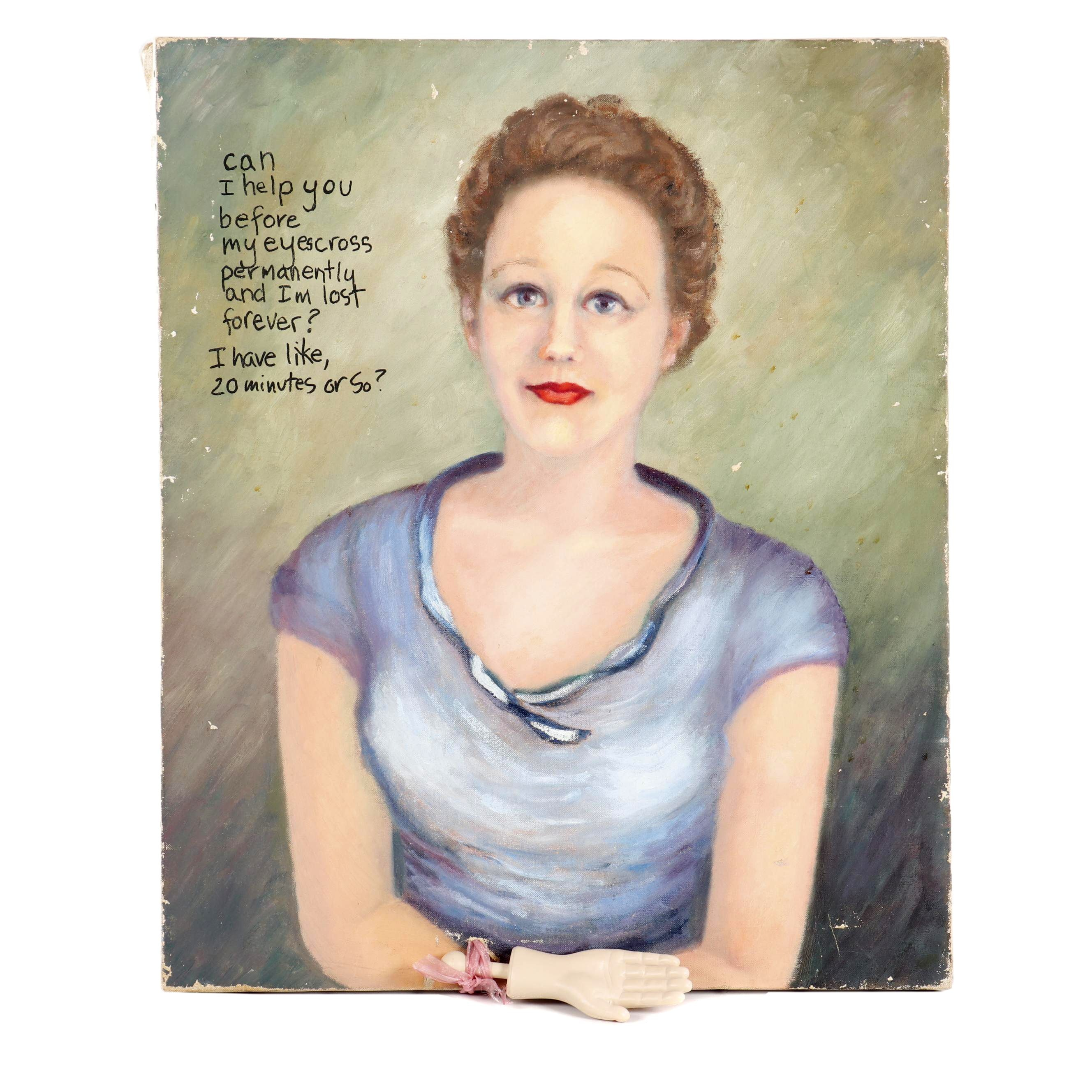 Mixed Media Portrait Oil Painting, Embellished by Joan Cusack