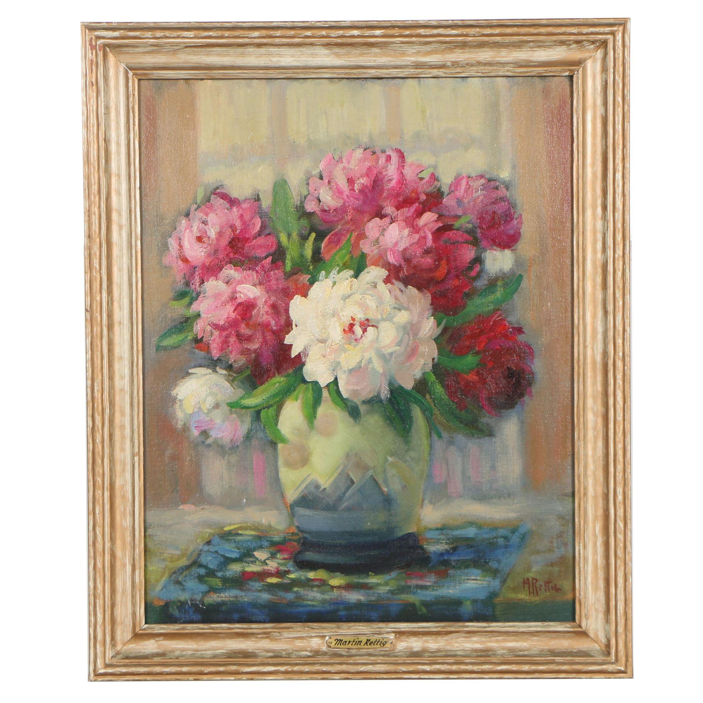 Martin Rettig Floral Still Life Oil Painting