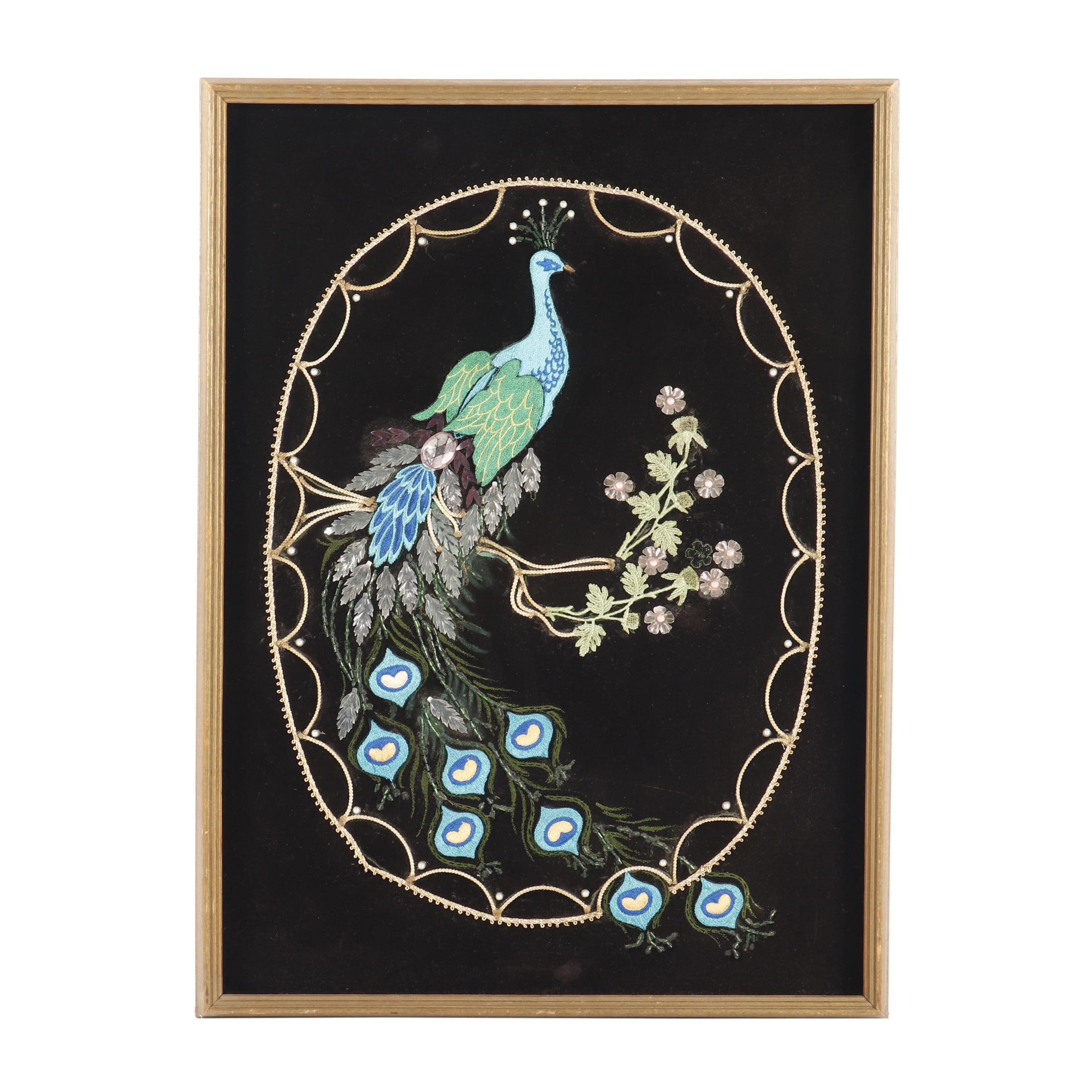 Embroidered Velvet Wall Hanging of a Peacock