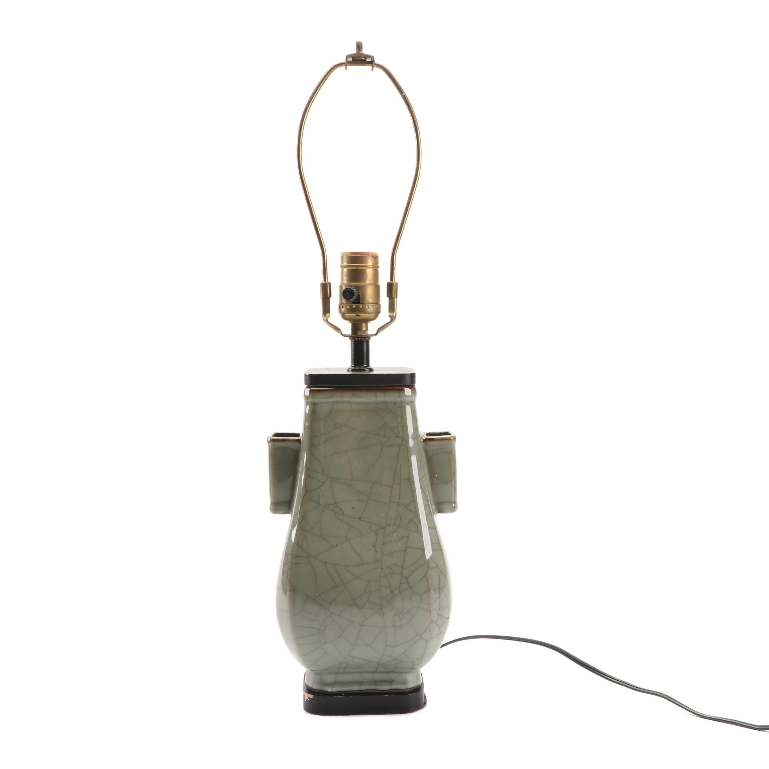 Celadon Crackle Glazed Ceramic Table Lamp