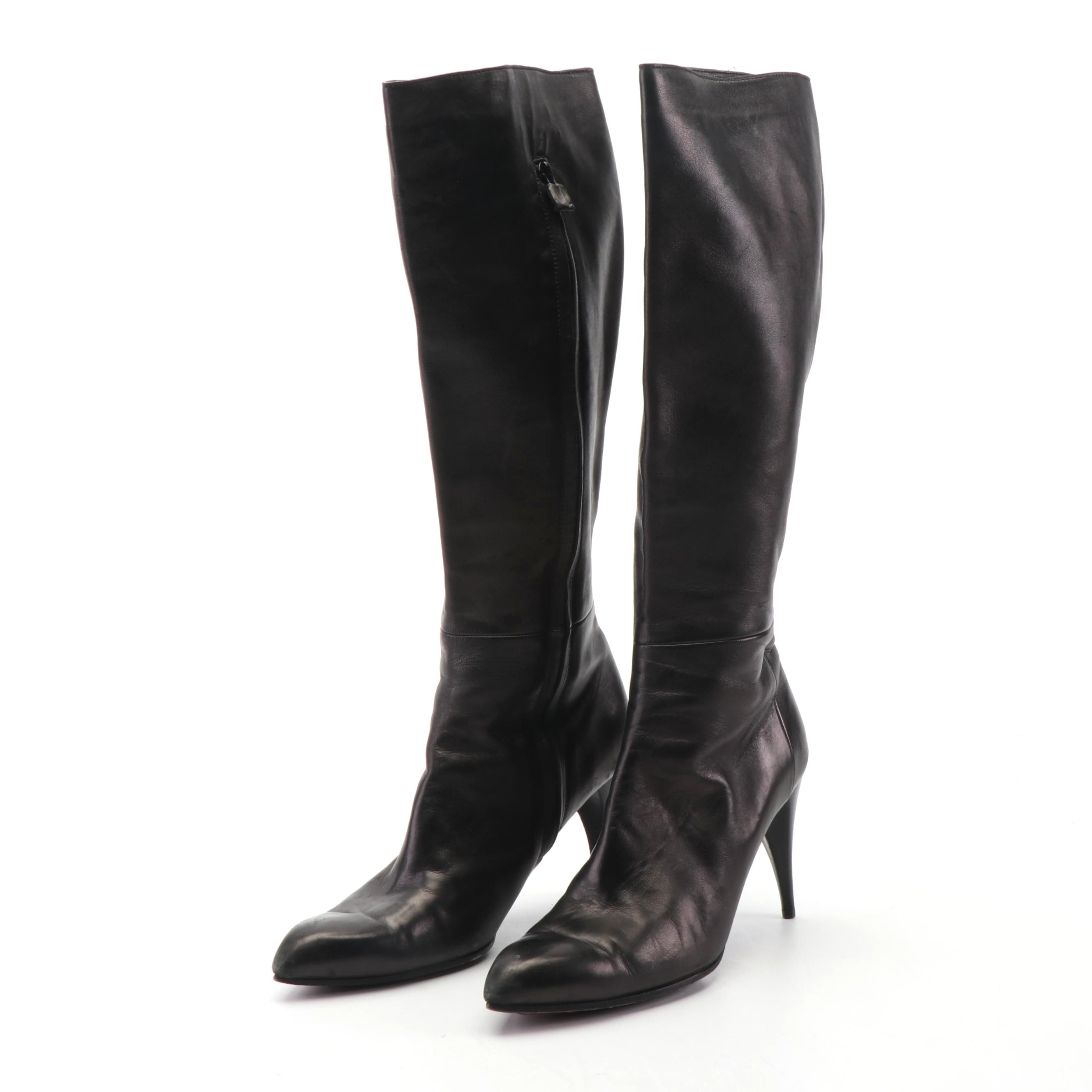 Costume National Italian Dark Brown Leather Spike Heeled Tall Boots