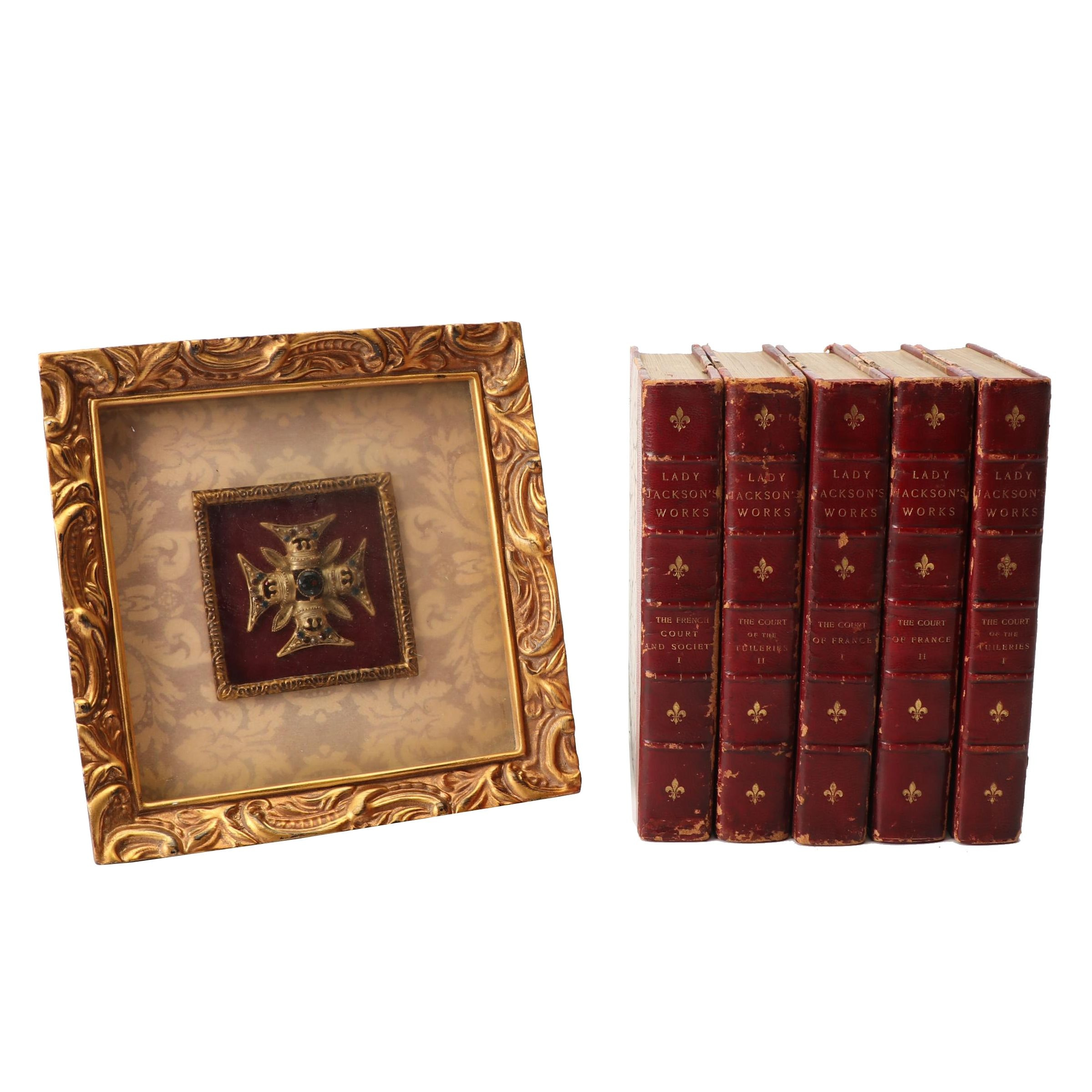 "Antique ""Lady Jackson's Works"" with Framed Greek Cross"