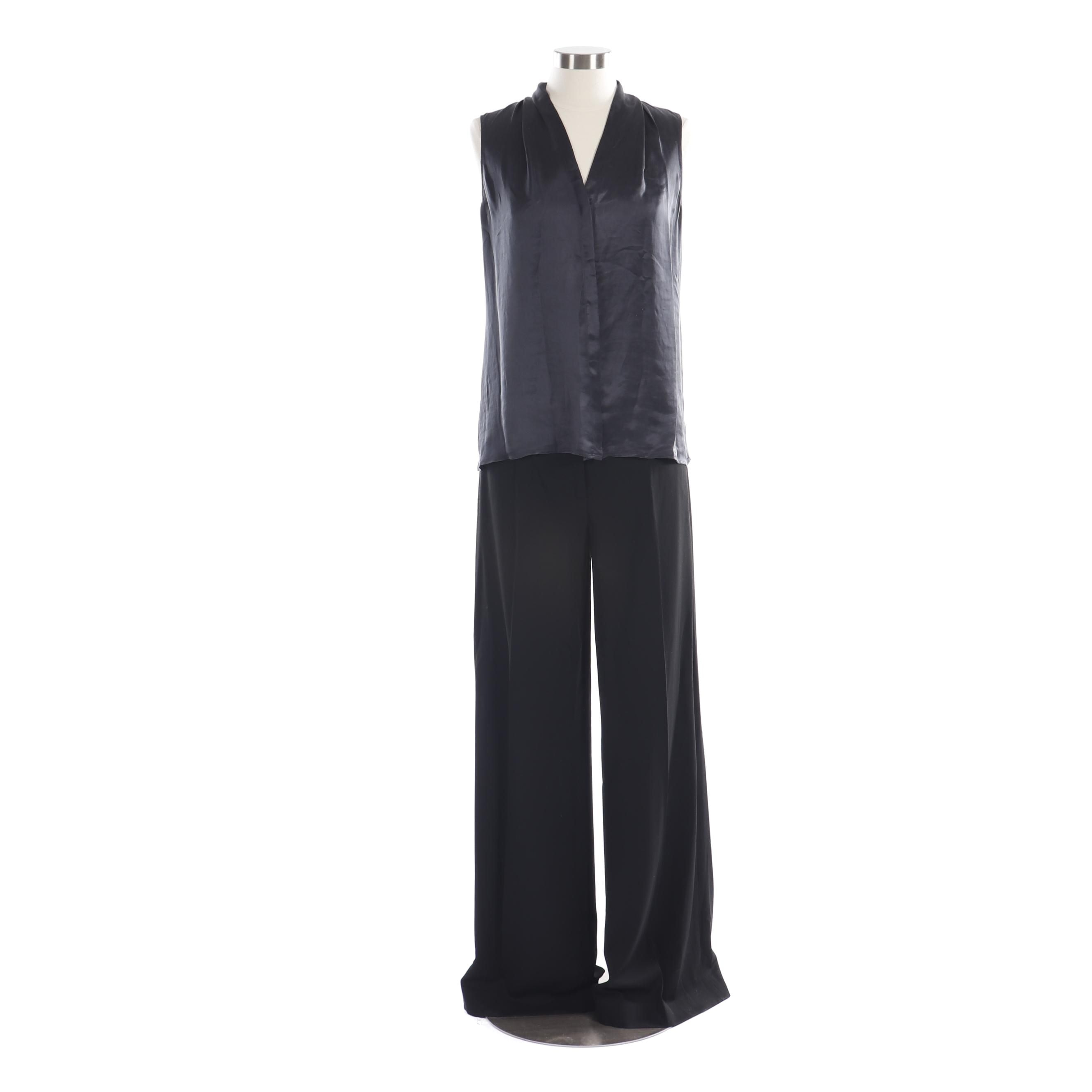 Women's Theory Black Sleeveless Top and DKNY Black Trousers