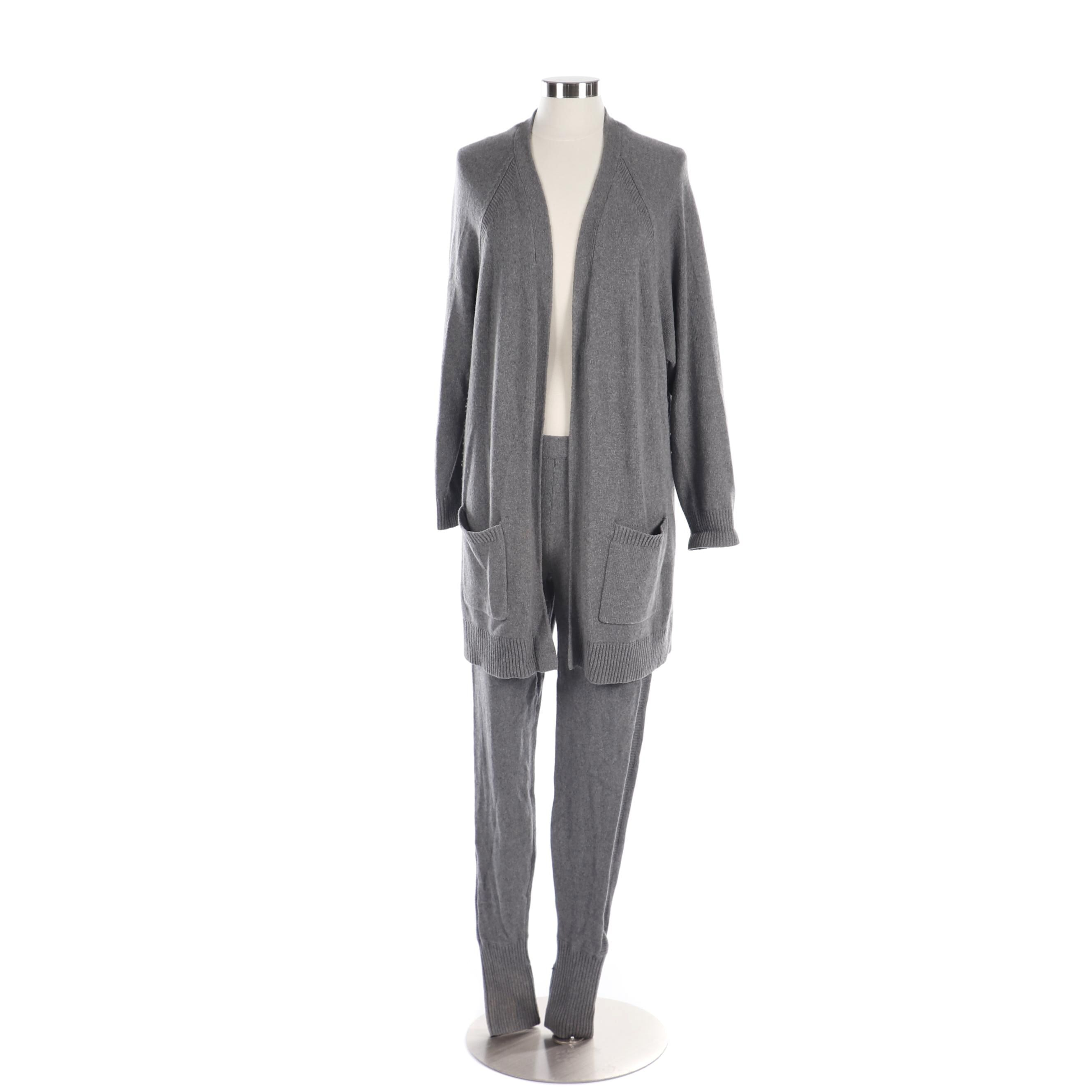 Women's Rag & Bone Grey Cashmere and Wool Blend Knit Cardigan and Leggings