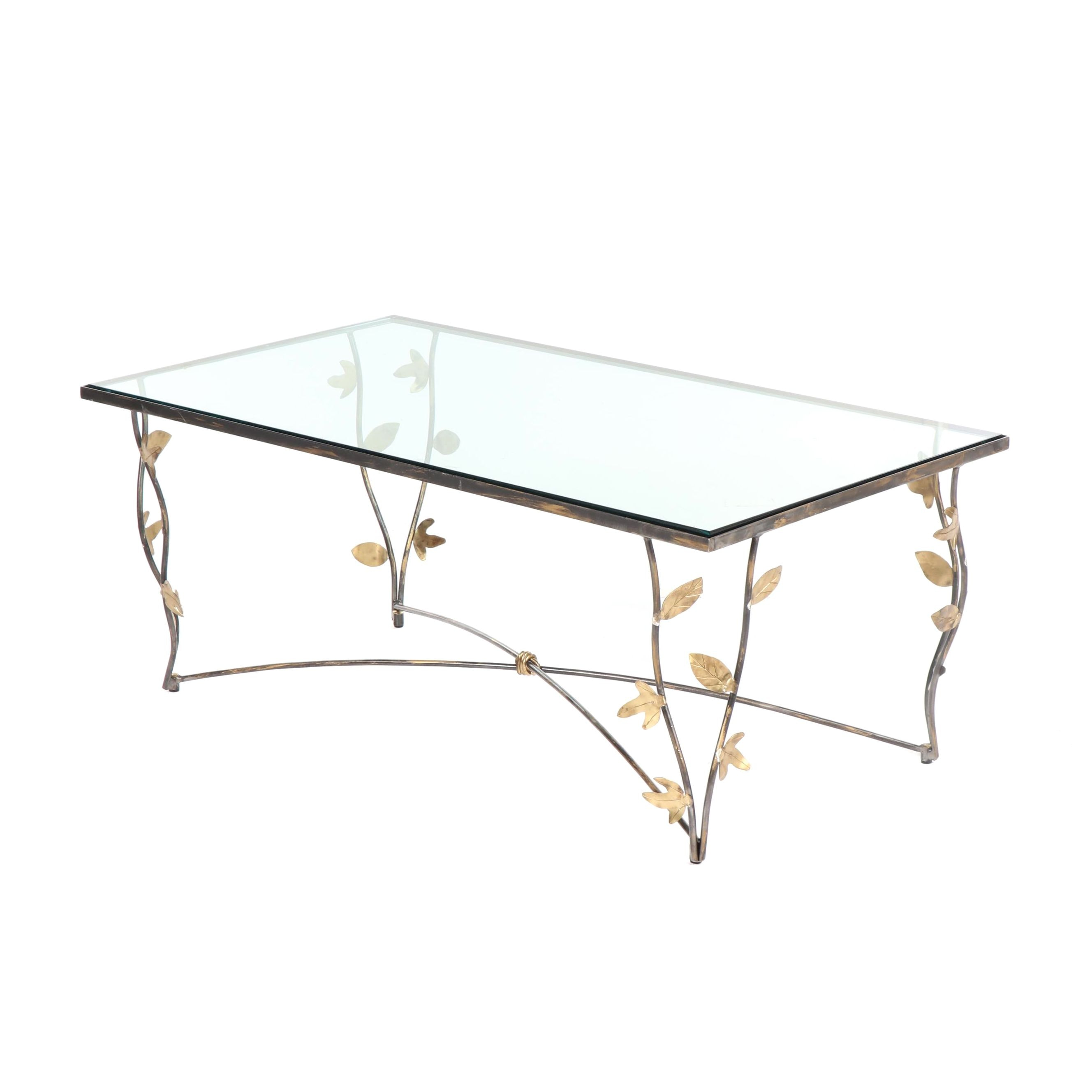 Metal and Glass Coffee Table, 21st Century