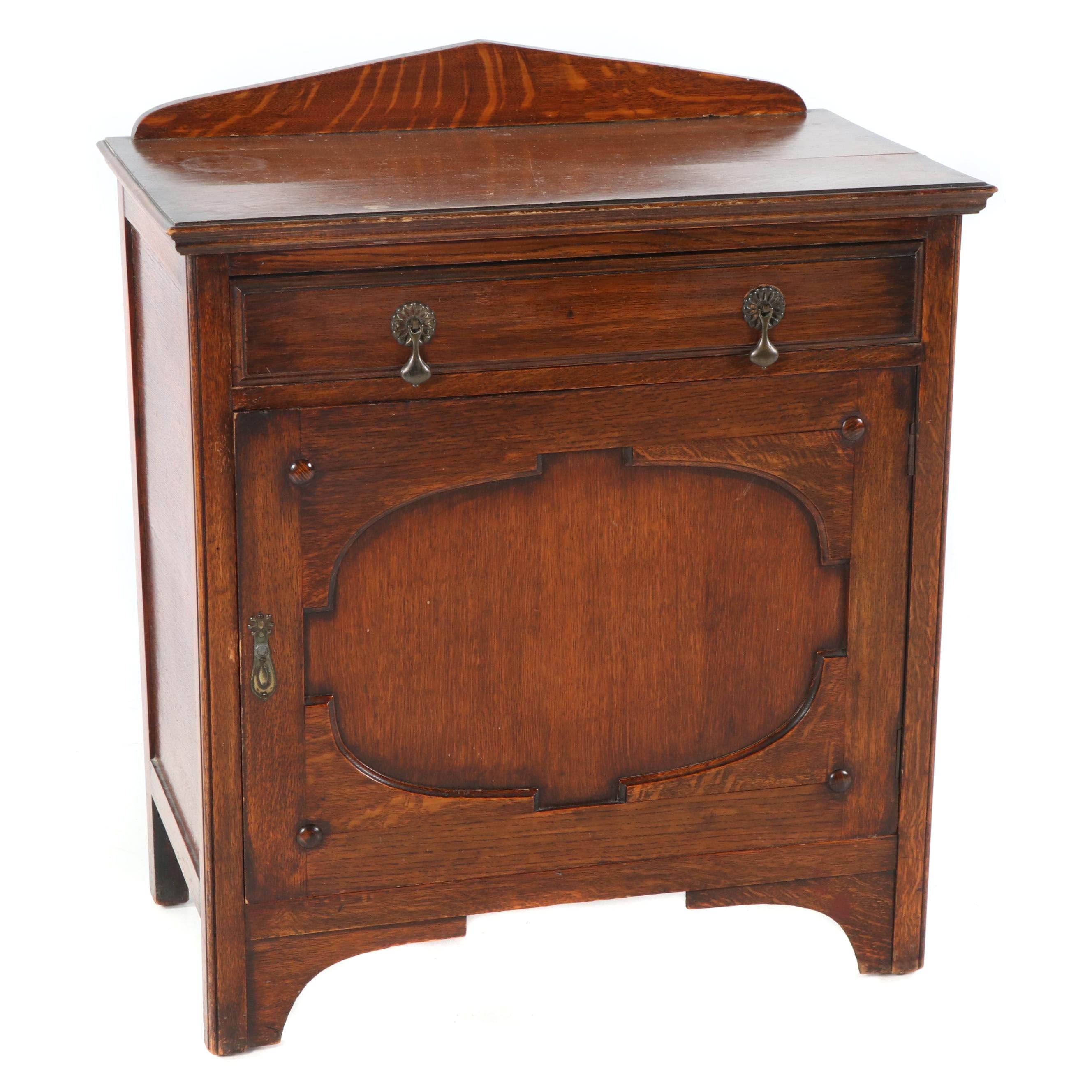 Late Victorian Style Stained Oak Wash Cabinet, 20th Century