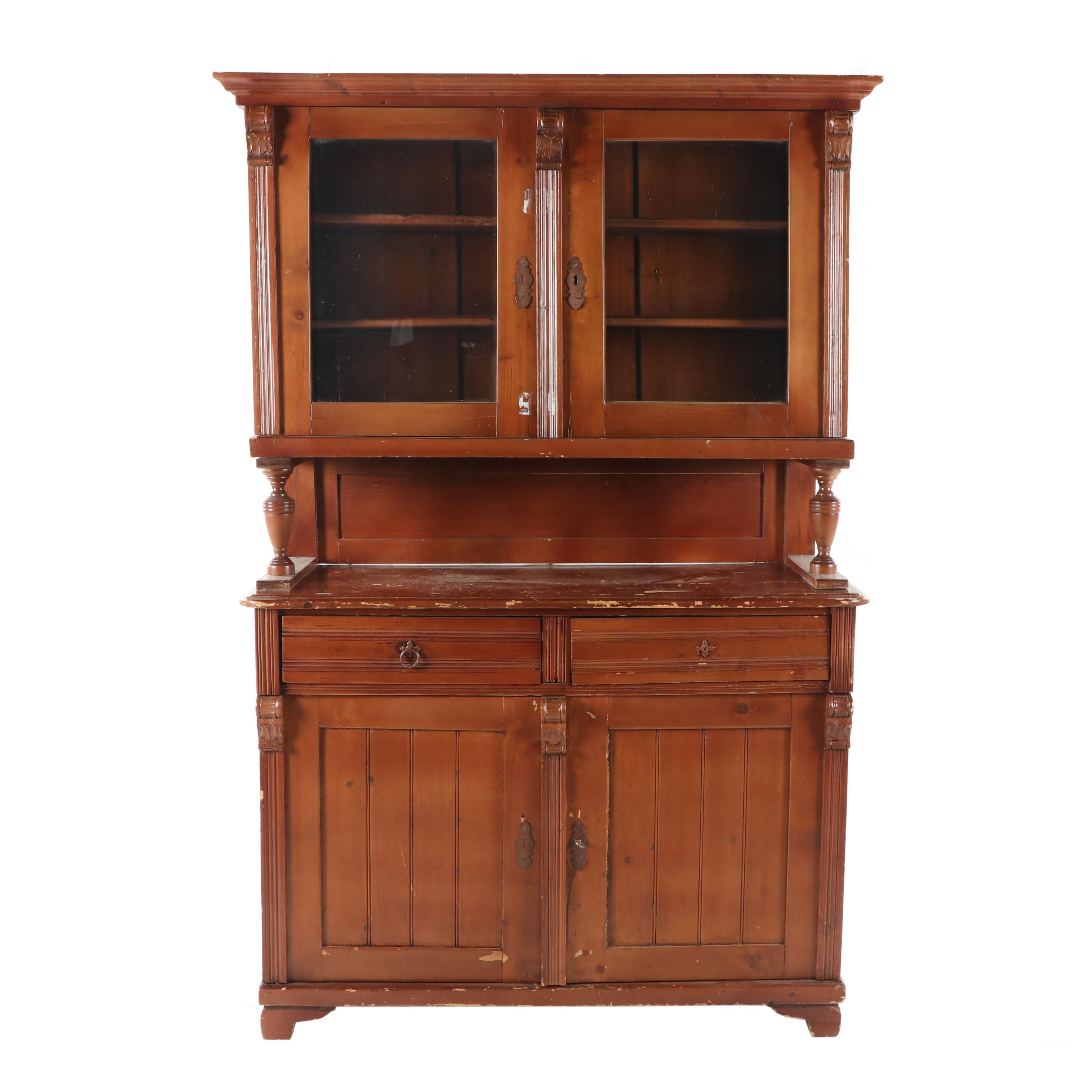 Late Victorian Style Pine China Cabinet, Early 20th Century
