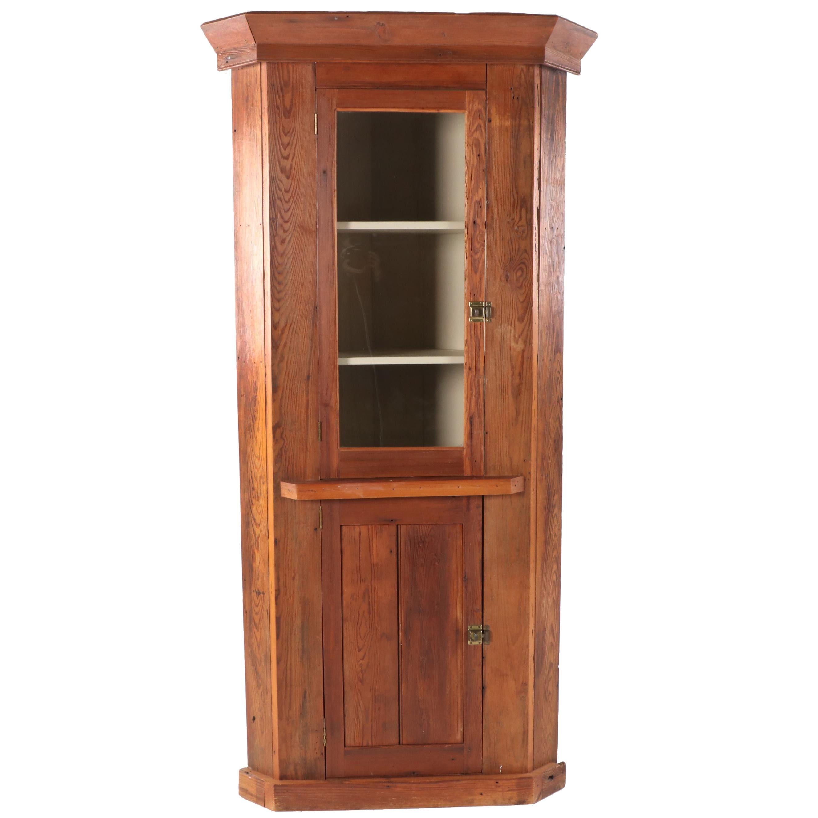 Repurposed Pine Corner Cabinet, Early 20th Century