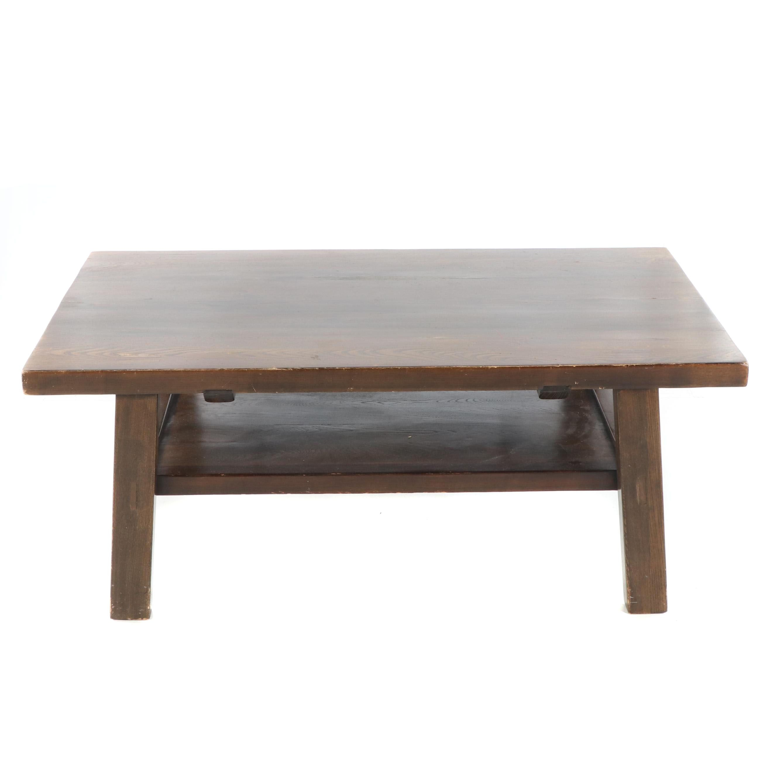 Arts and Crafts Style Stained Oak Coffee Table, 21st Century