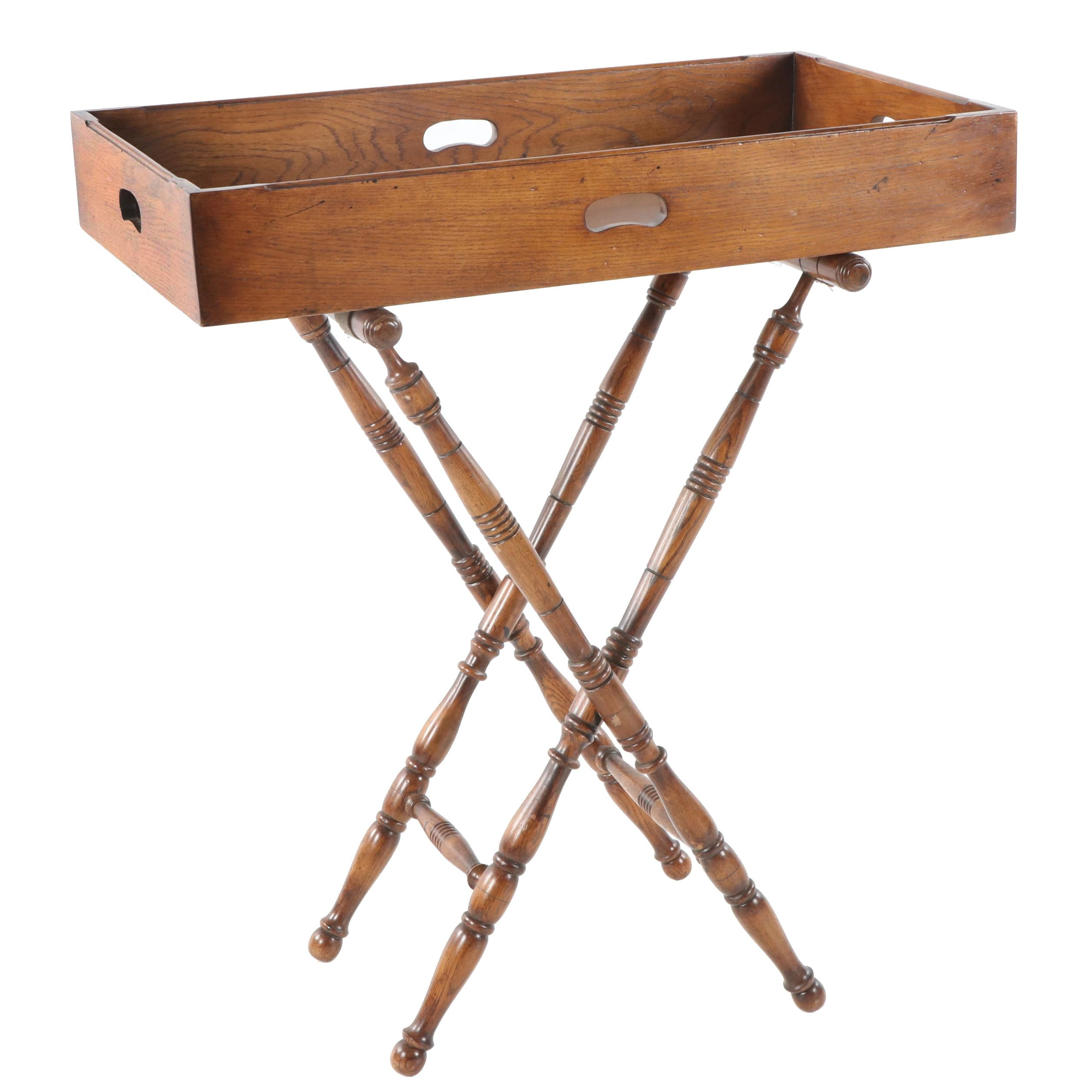 Campaign Style Stained Oak Tray on Folding Stand, 20th Century