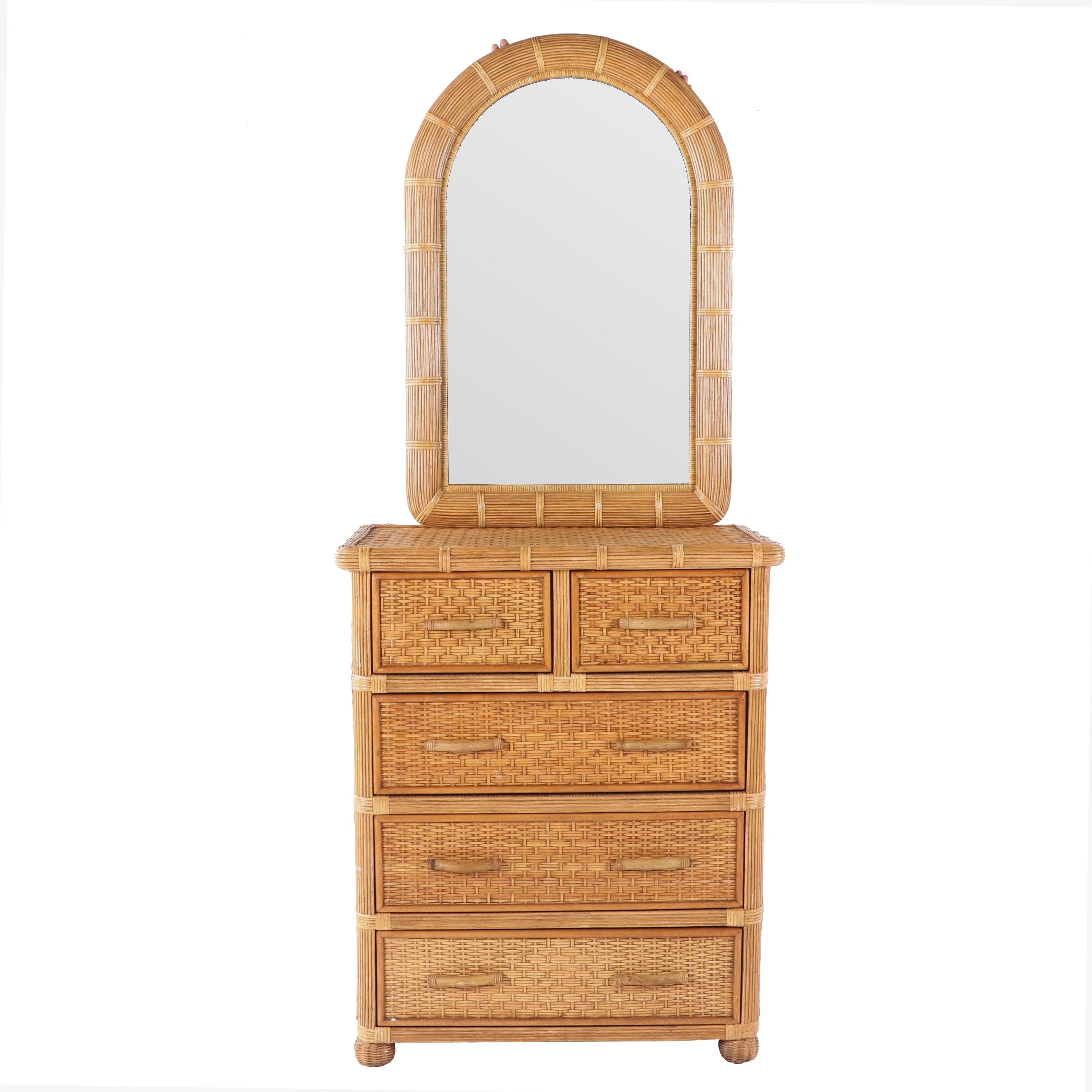 Rattan and Wicker Weave Five-Drawer Chest with Mirror, 21st Century