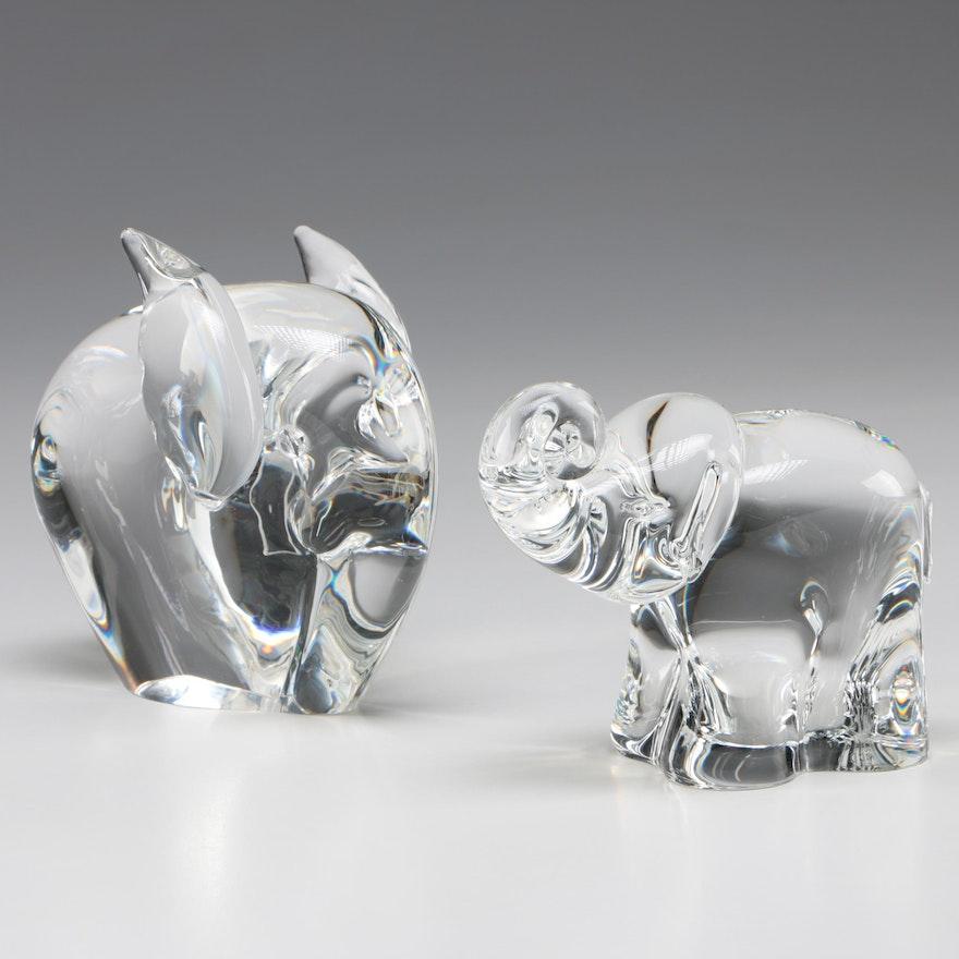 Steuben Art Glass Elephant Figurines Designed by George Thompson, Mid-Century