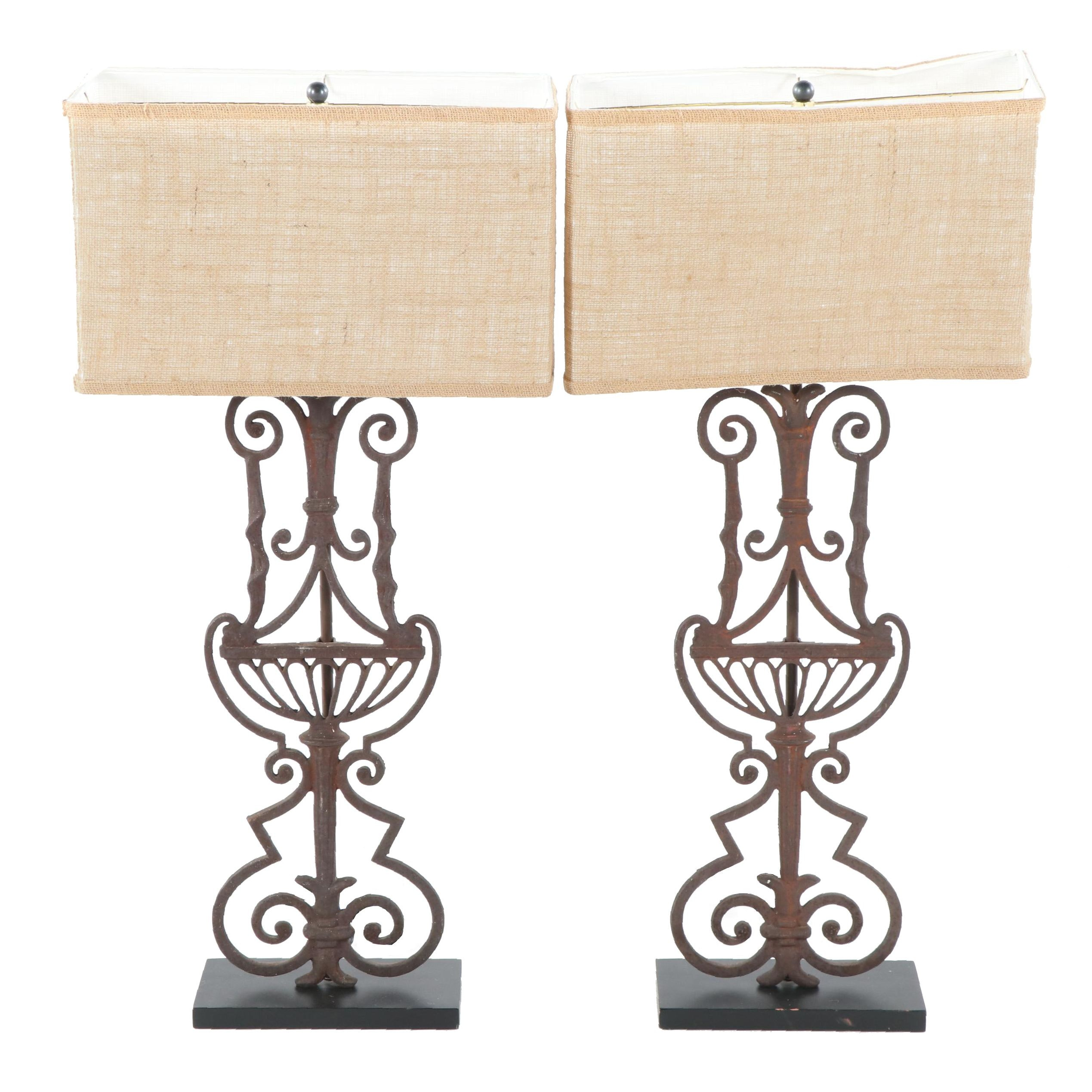 Converted Iron Openwork Table Lamps with Burlap Shades