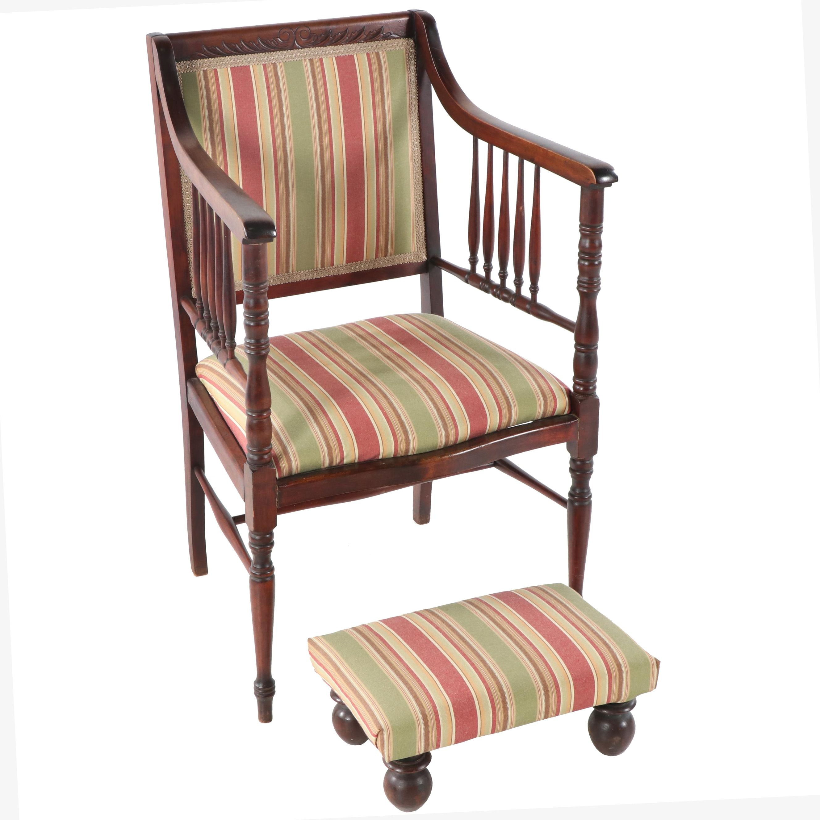 Federal Style Upholstered Armchair and Footstool, Mid-20th Century