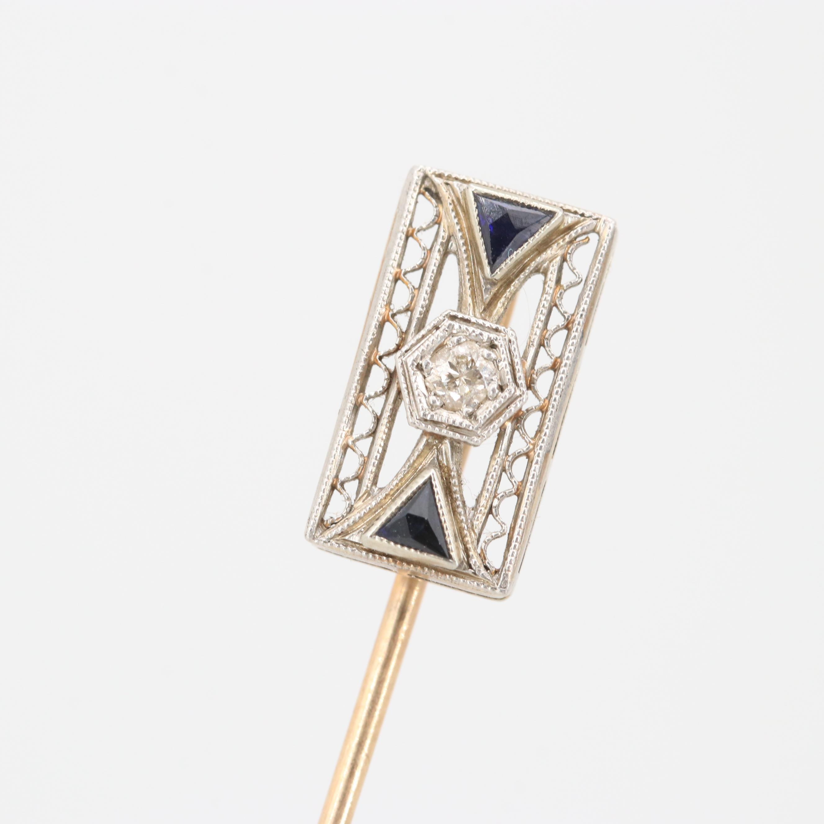 Art Deco 14K Gold Diamond and Synthetic Sapphire Stick Pin with Platinum Top