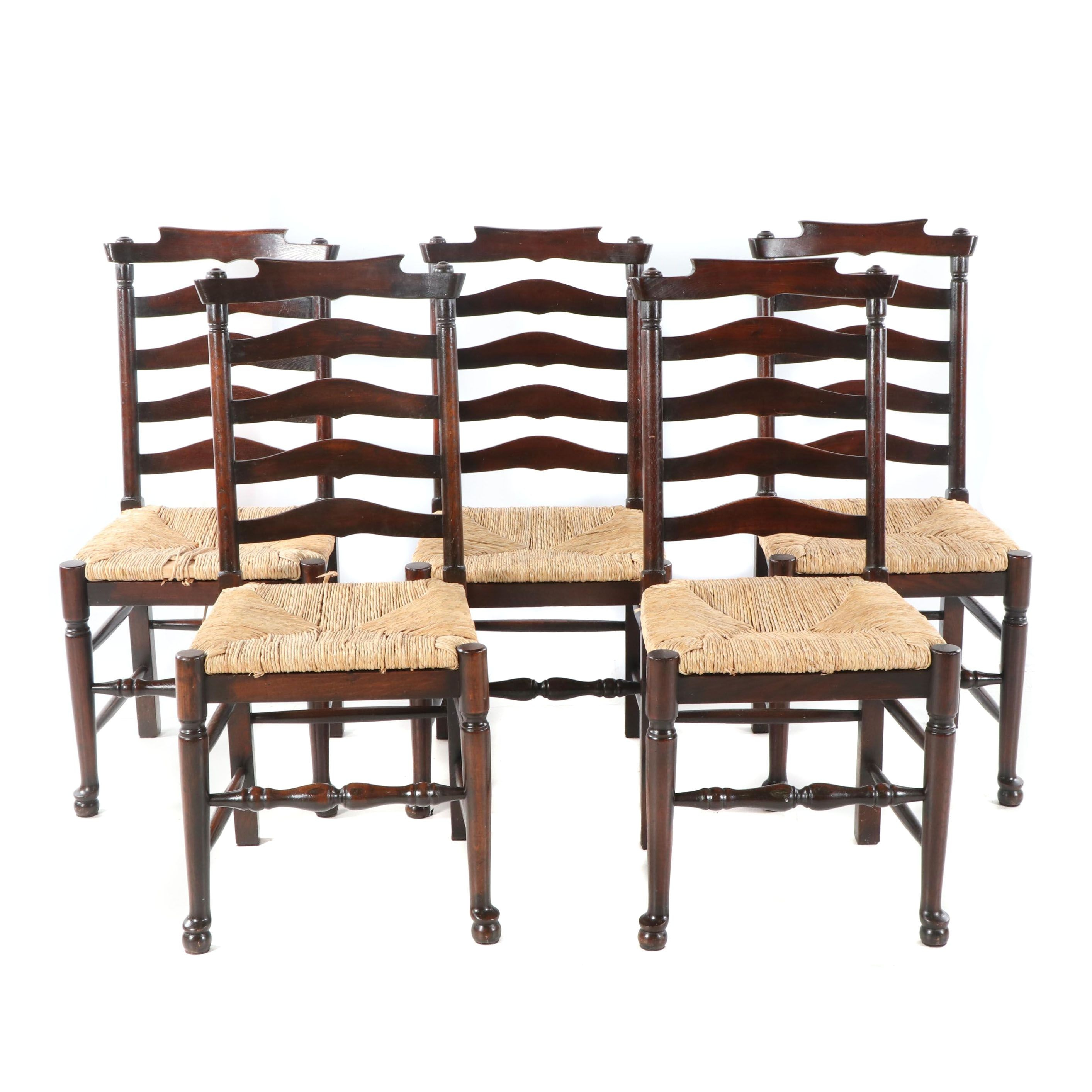 Stained Oak Ladder Back Chairs Set, 21st Century