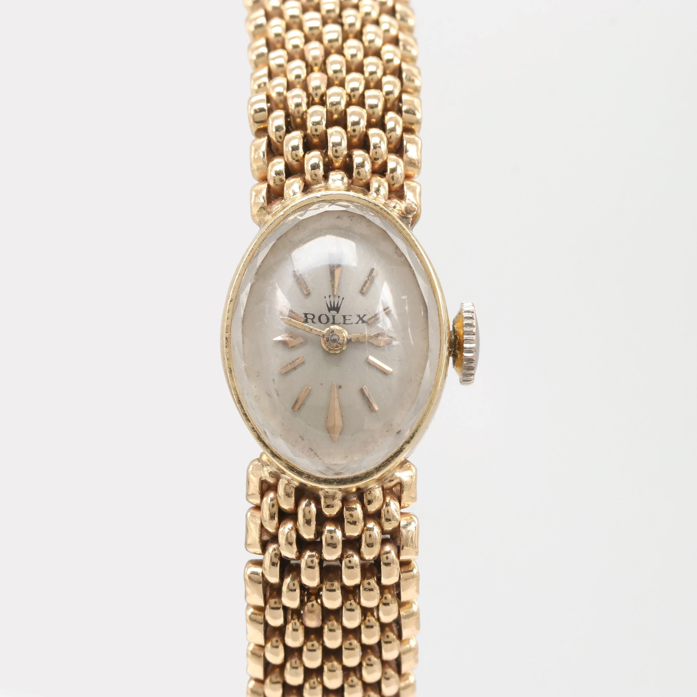 Vintage Rolex 14K Yellow Gold Stem Wind Wristwatch on Panther Link Bracelet