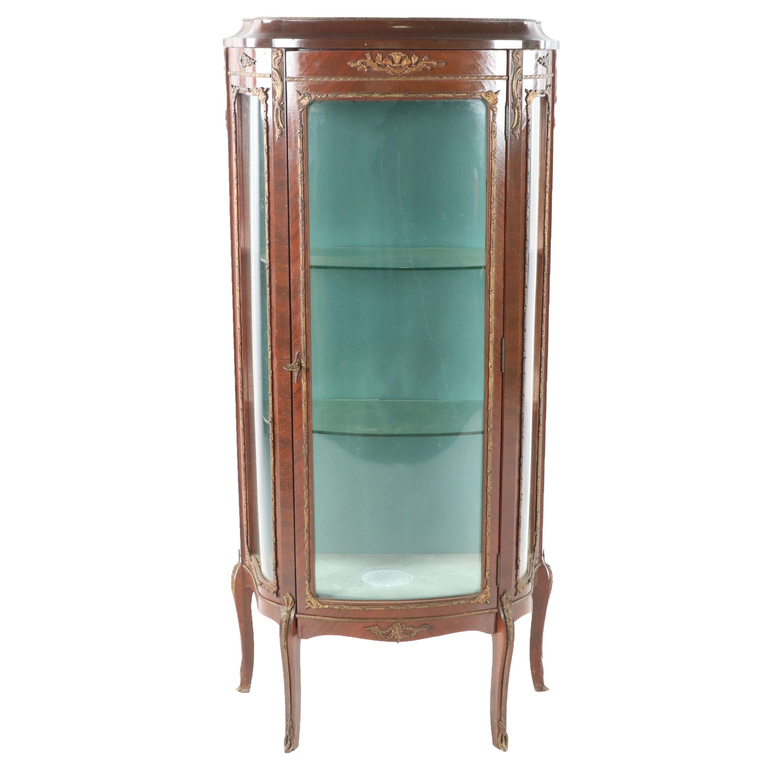 Louis XV Style Banded Mahogany Curio Cabinet, 20th Century