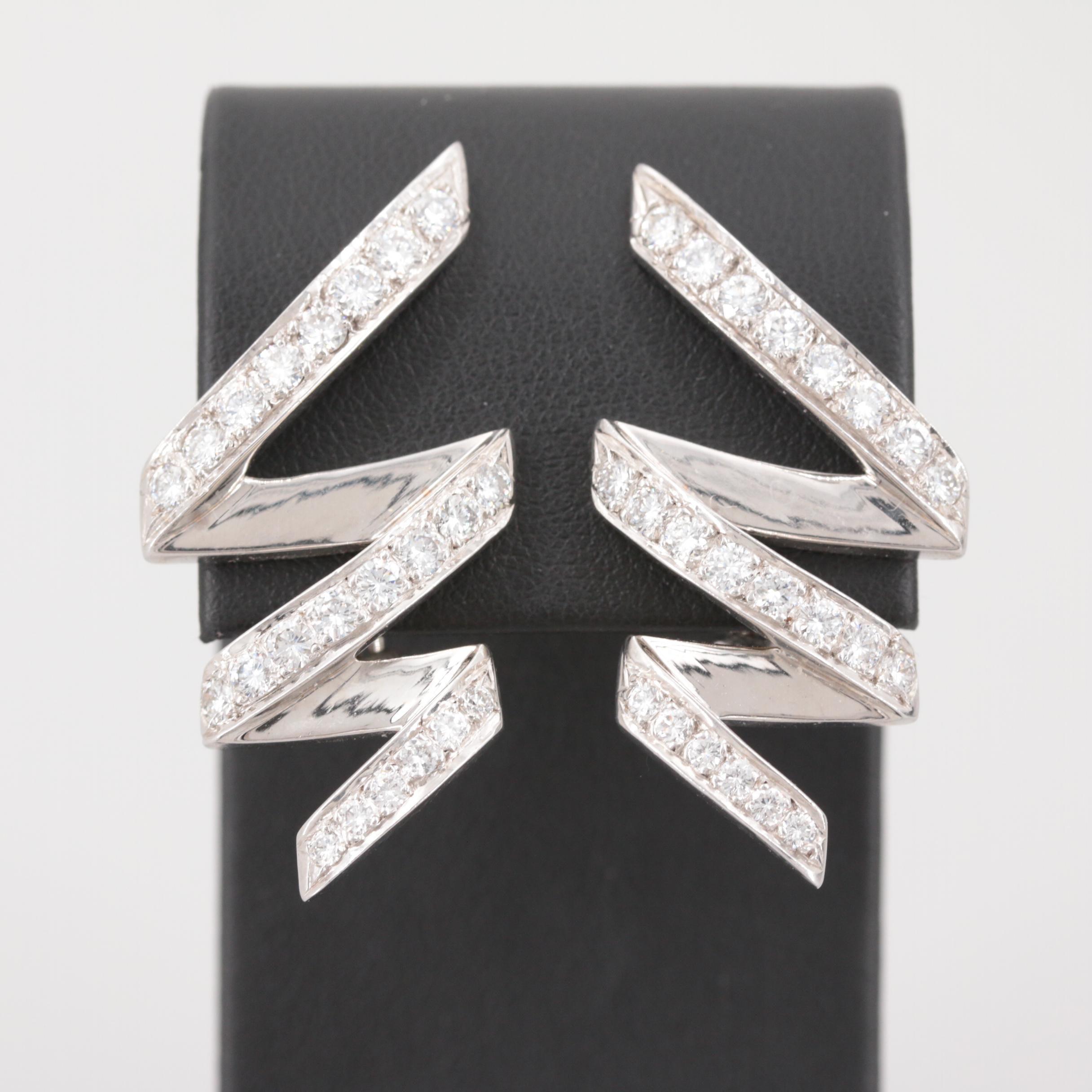 14K White Gold 2.52 CTW Diamond Earrings