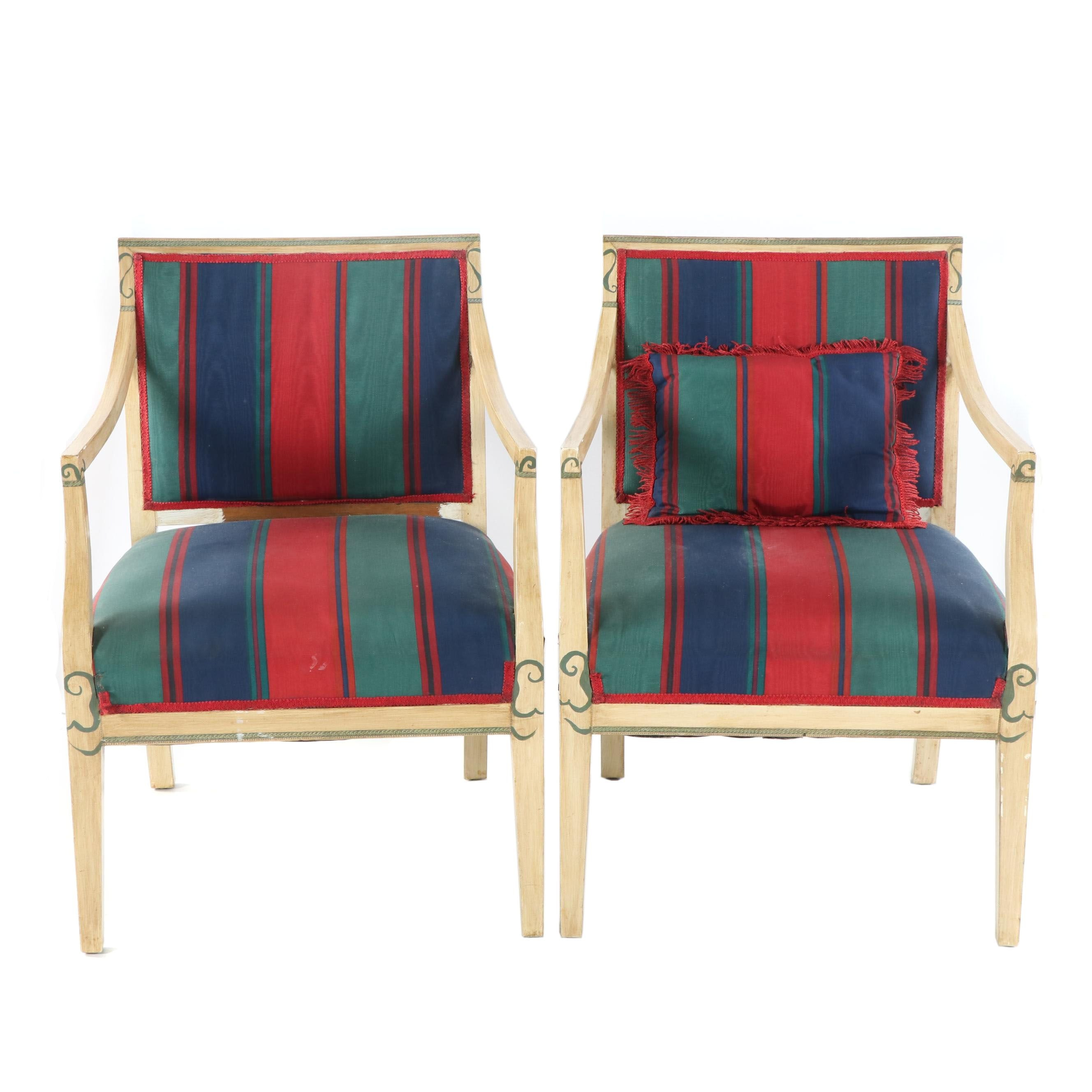 Sheraton Style Painted Wood Frame Upholstered Armchairs, Late 20th Century