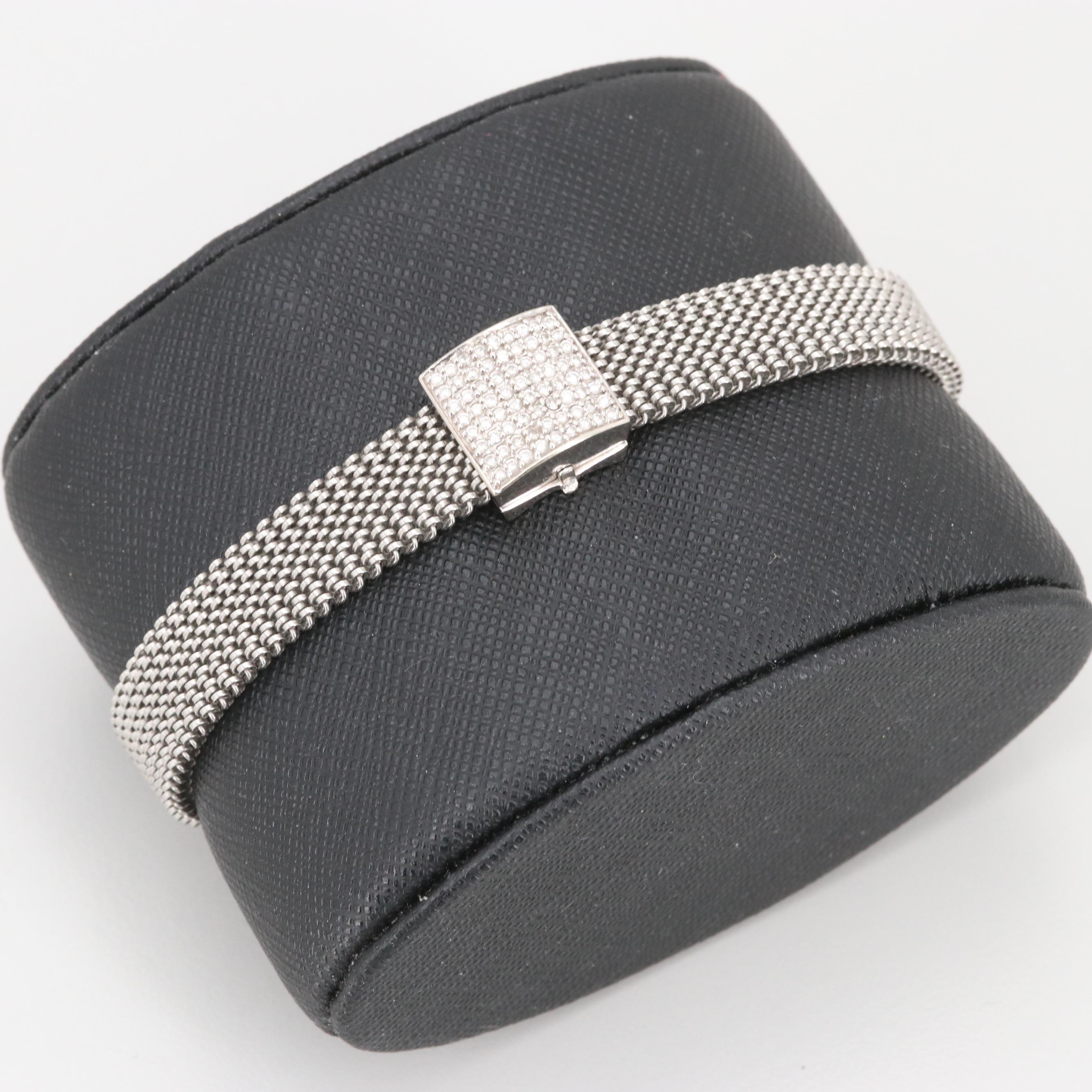 14K White Gold and Silver Tone Diamond Expandable Bracelet