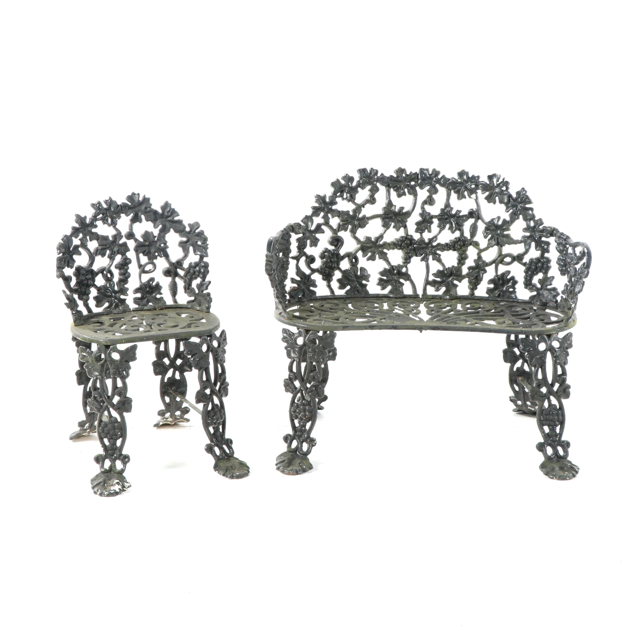 Grapevine Motif Cast Iron Garden Bench and Side Chair