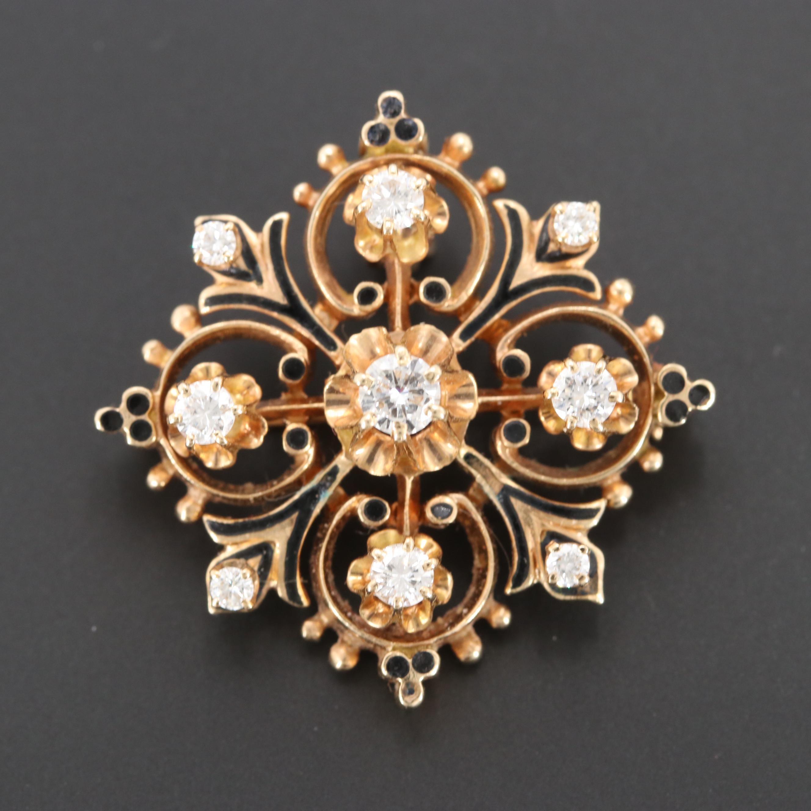 Victorian 14K Yellow Gold Diamond Converter Brooch