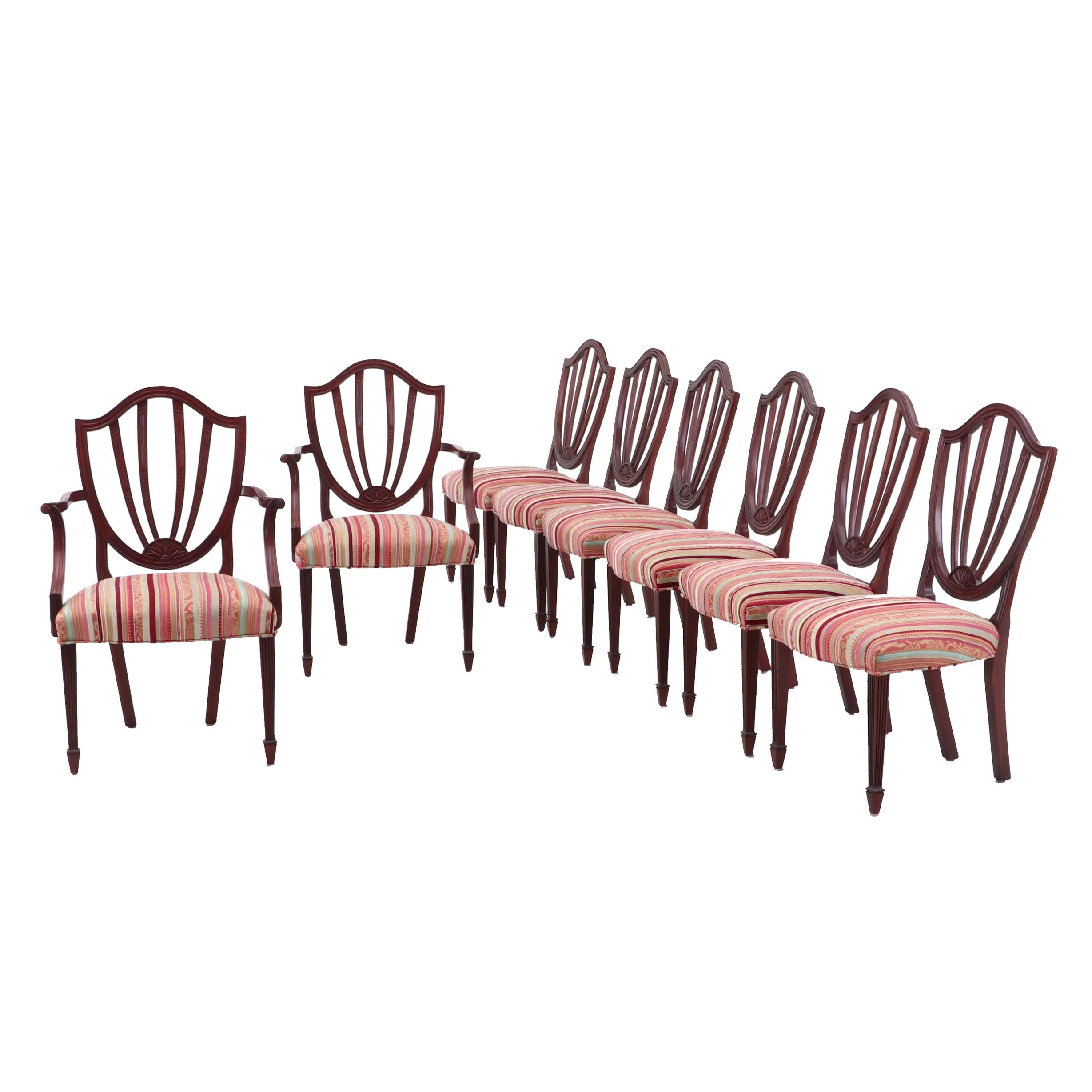 Hepplewhite Style Upholstered Dining Chairs in Mahogany by Baker Furniture