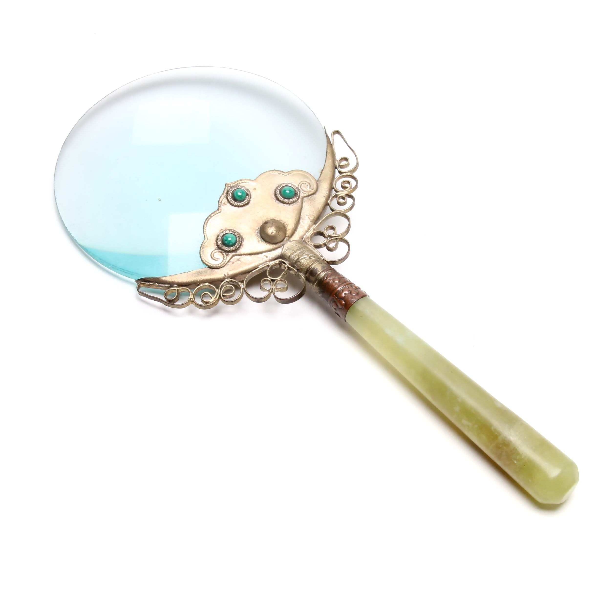 Silver Plate Accented Magnifying Glass with Serpentine Handle