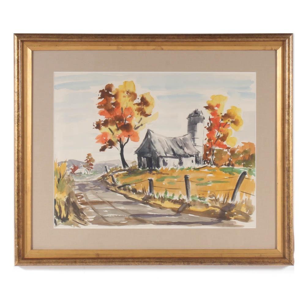 M. Cochran Watercolor Rustic Barn Scene
