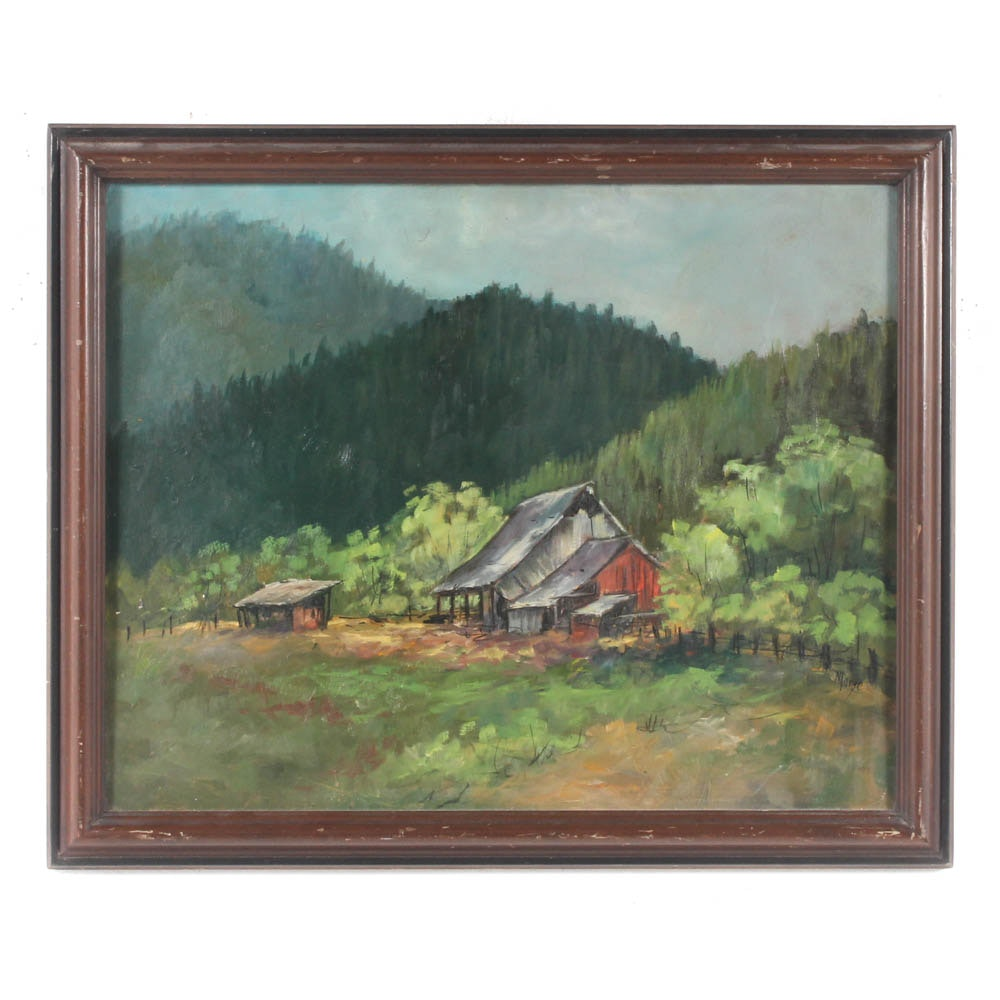 """Morge Oil Painting """"Ohio Valley Homestead"""""""