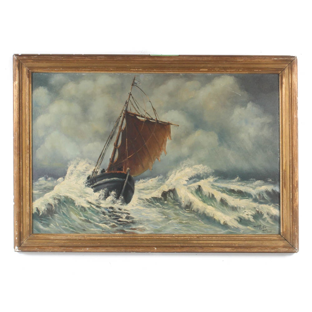 Michel Kritz Oil Painting Fishing Boat in Rough Seas