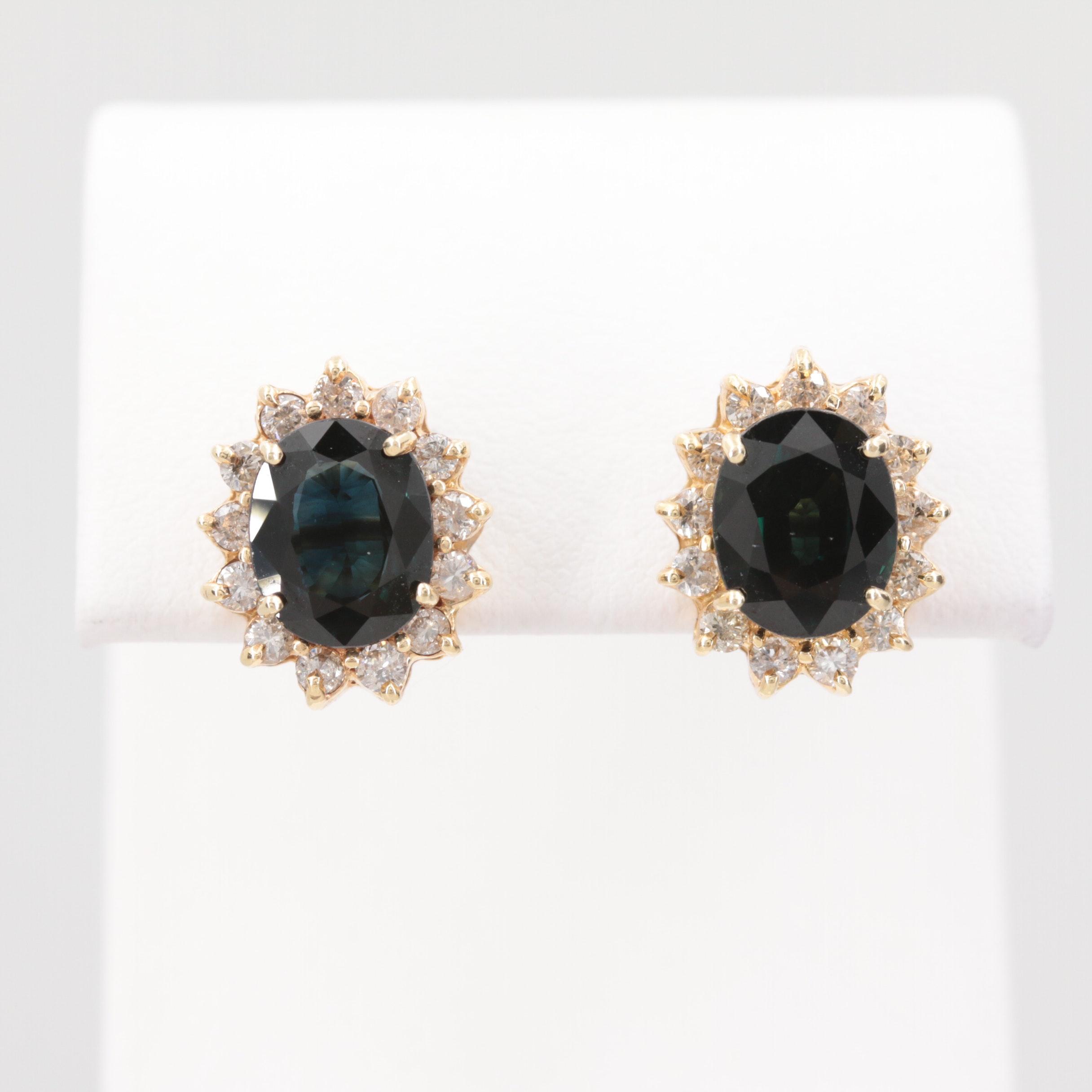 14K Yellow Gold 4.40 CTW Sapphire and Diamond Earrings