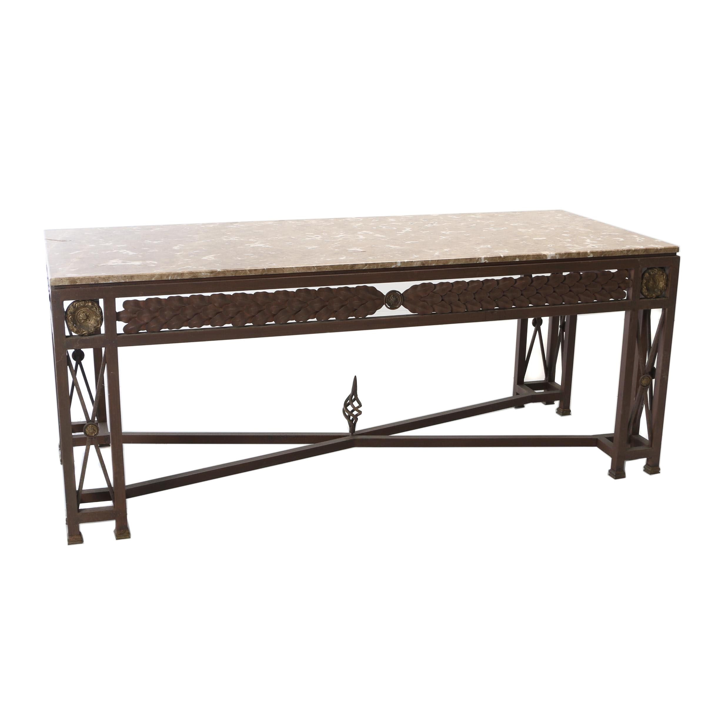 Contemporary Neoclassical Style Metal and Brown Marble Dining Table