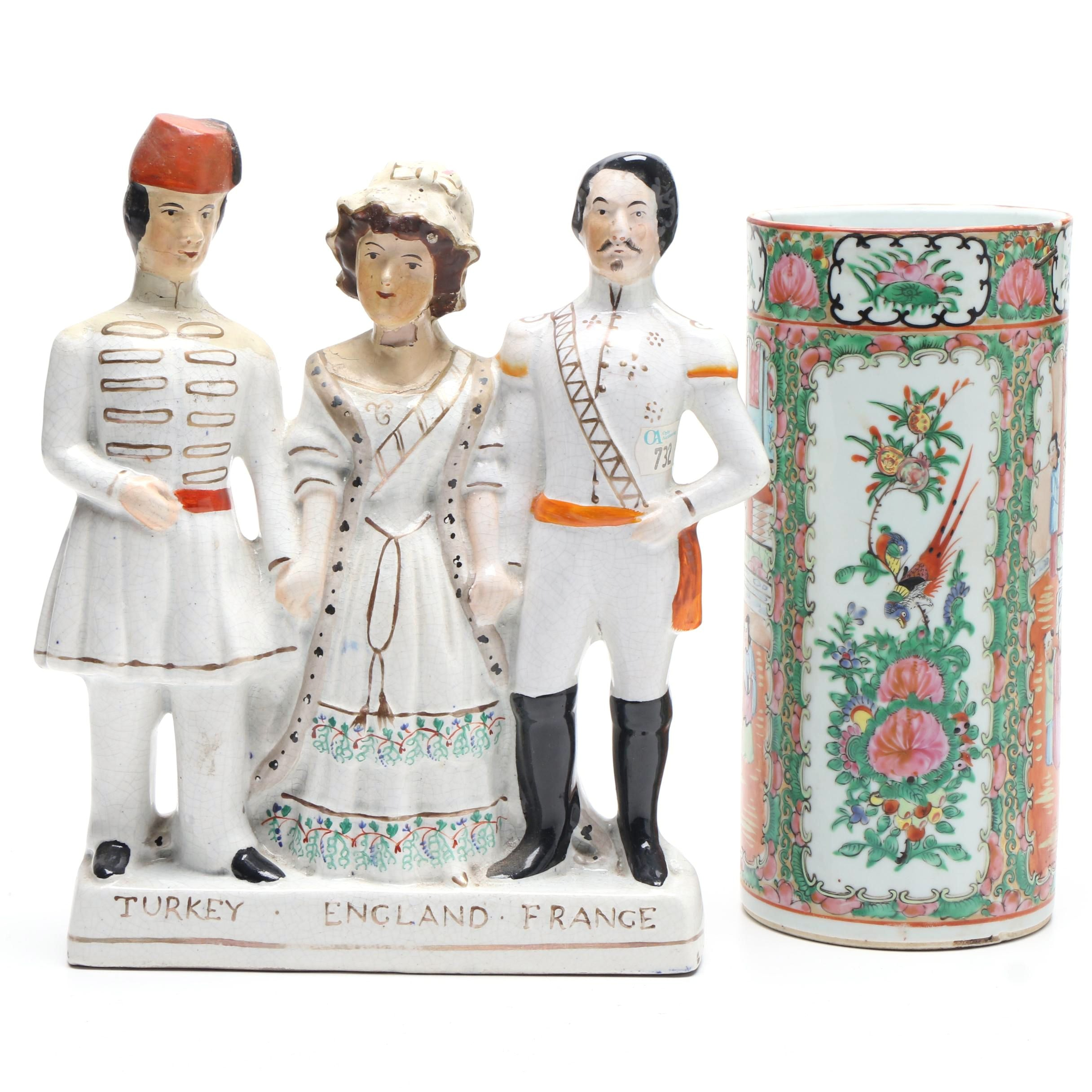 Staffordshire Style Figurine and Chinese Rose Medallion Vase