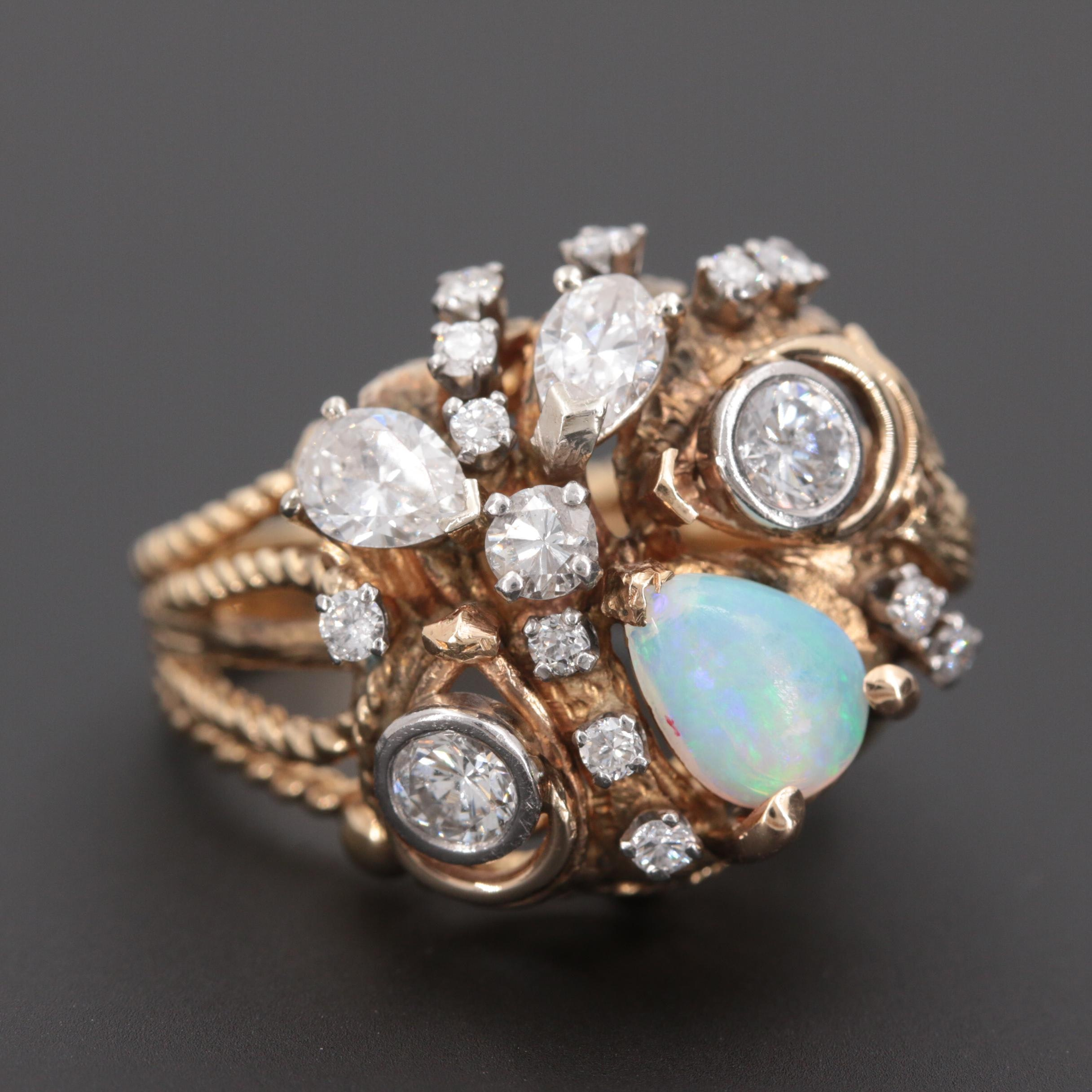 14K Yellow Gold and Palladium 1.58 CTW Diamond and Opal Ring