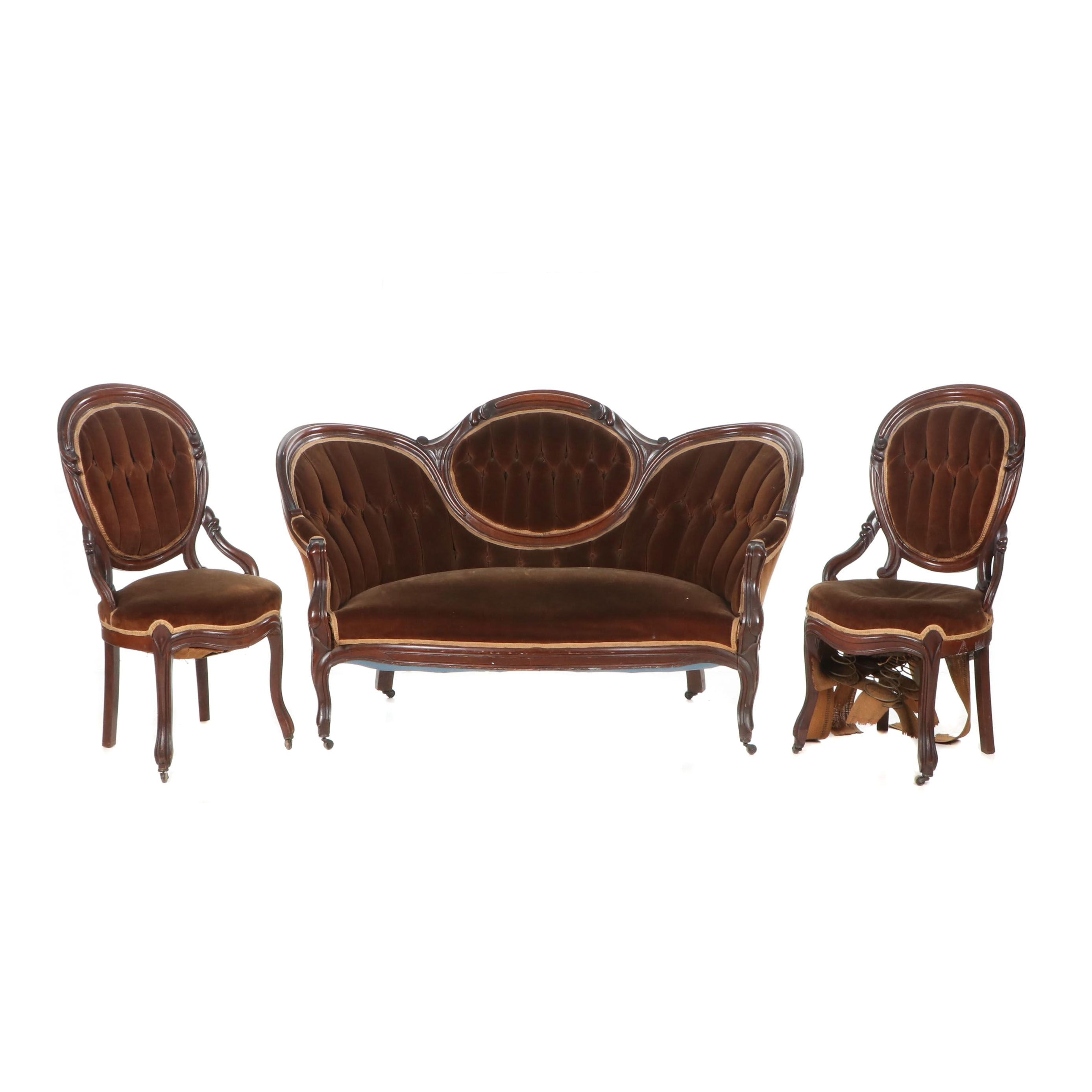 Victorian Upholstered Walnut Parlor Set, Late 19th/ Early 20th Century