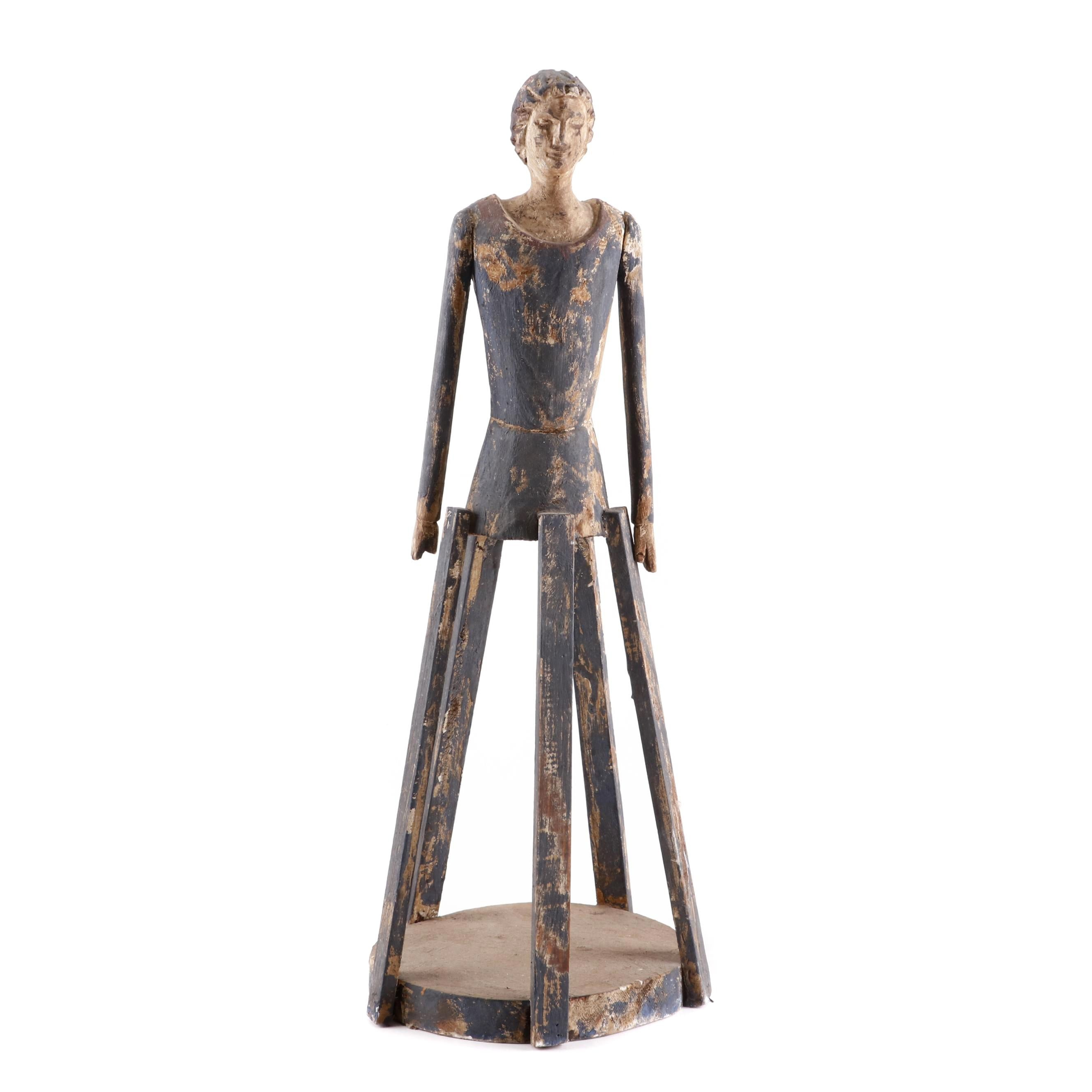Reproduction Folk Art Style Cage Doll, Late 20th Century