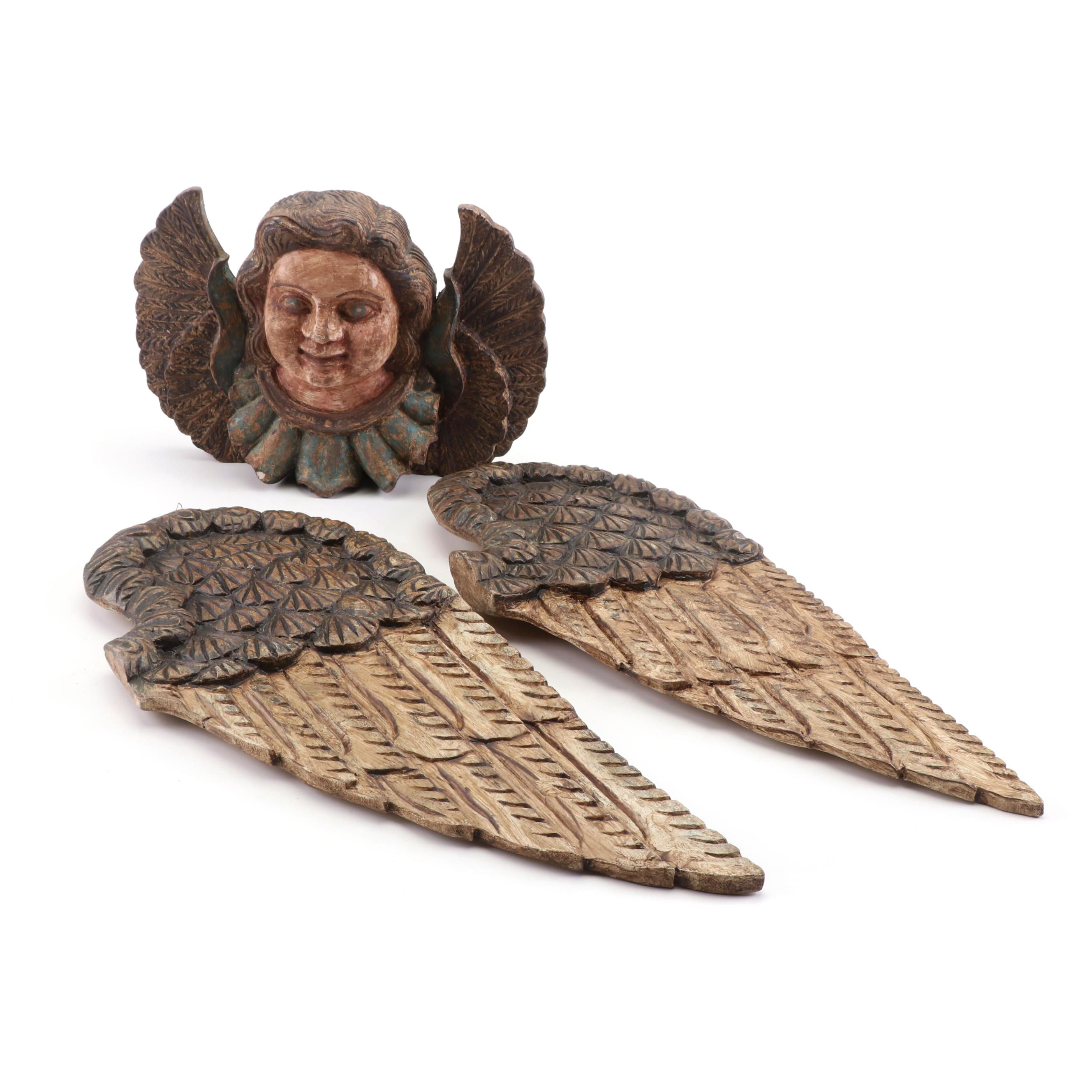 Carved Wood Polychrome Angel and Wings